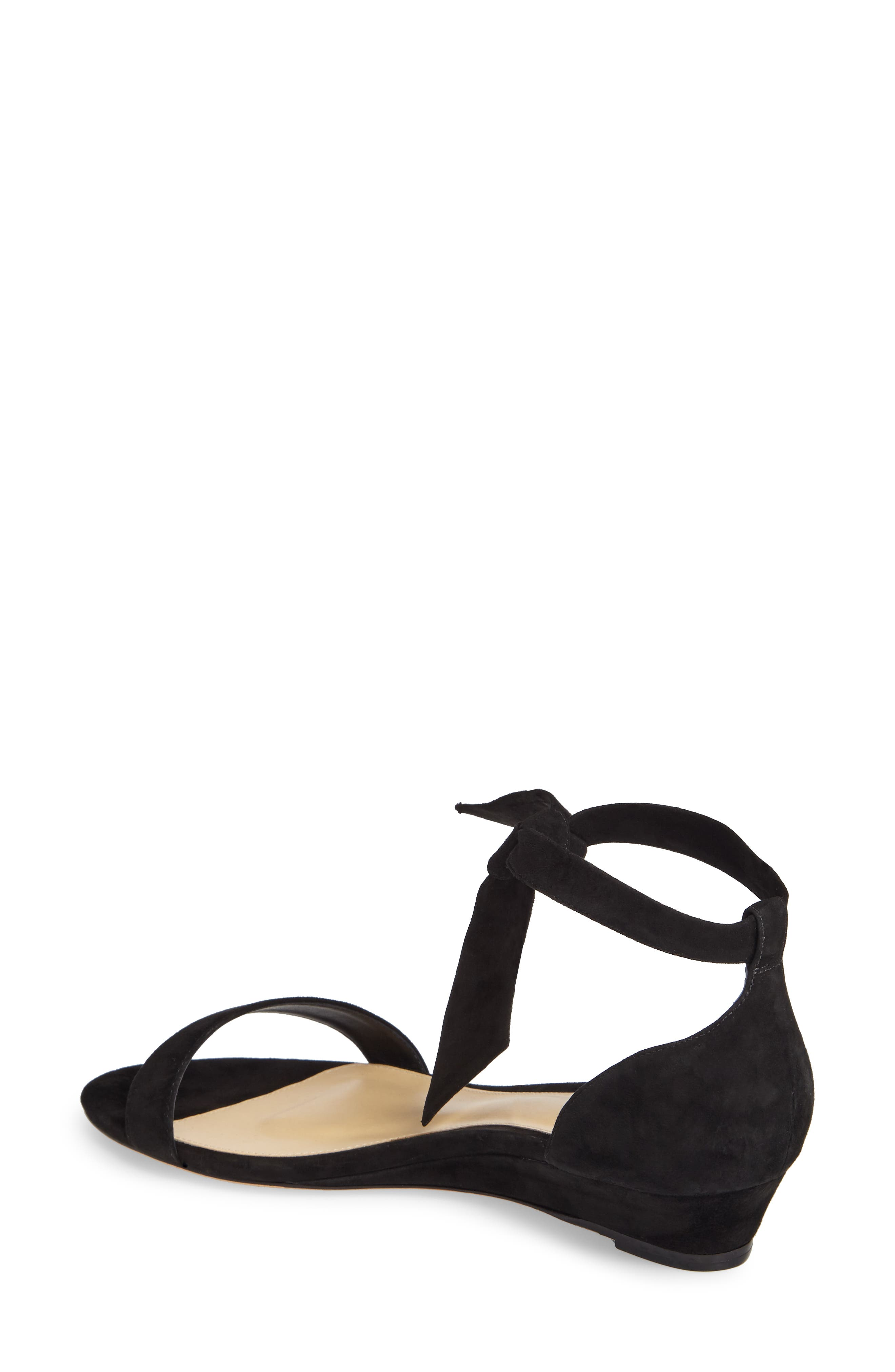 Atena Tie Strap Wedge Sandal,                             Alternate thumbnail 2, color,                             Black Suede
