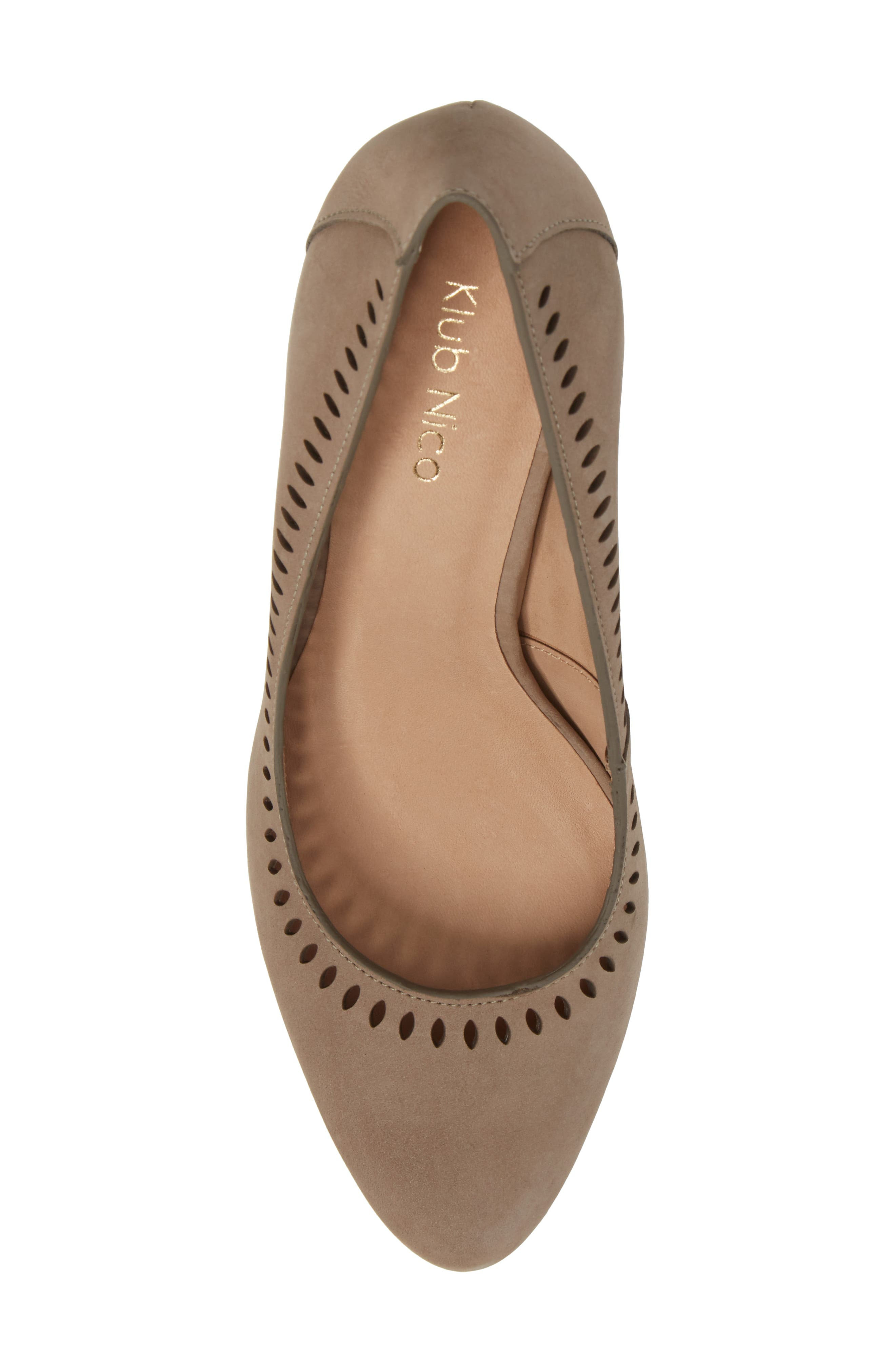 Beleza Perforated Pump,                             Alternate thumbnail 5, color,                             Taupe Nubuck Leather