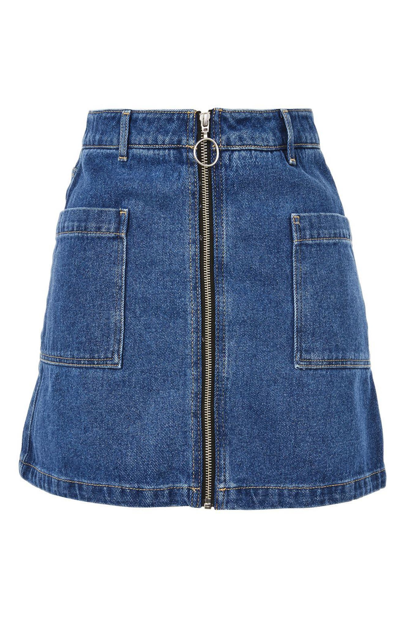Patch Pocket A-Line Denim Miniskirt,                             Alternate thumbnail 3, color,                             Mid Denim