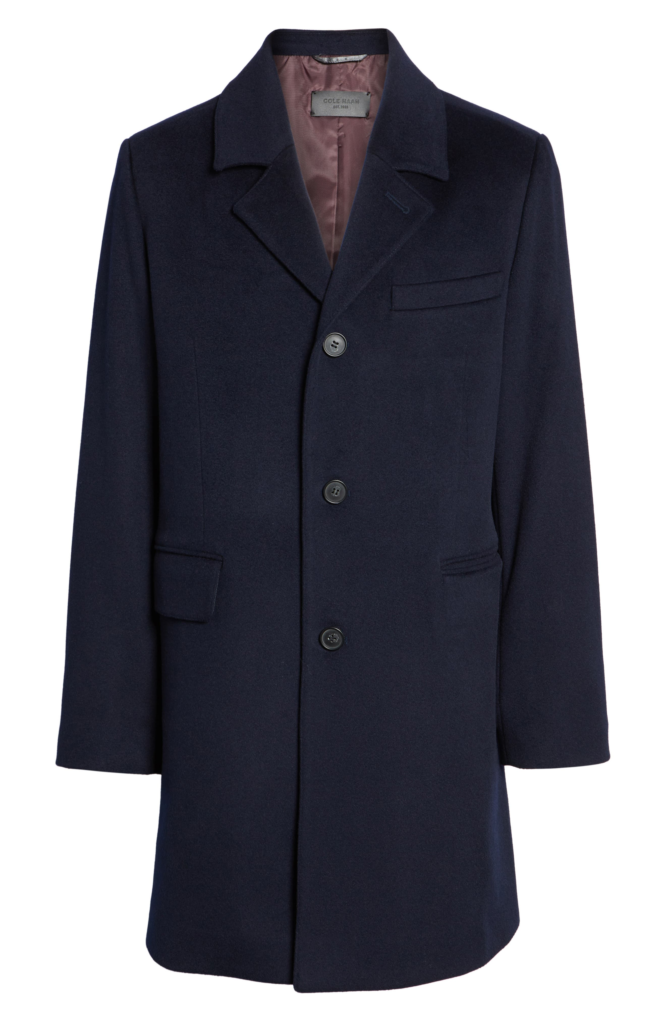 Lambswool Topcoat,                             Alternate thumbnail 6, color,                             Navy