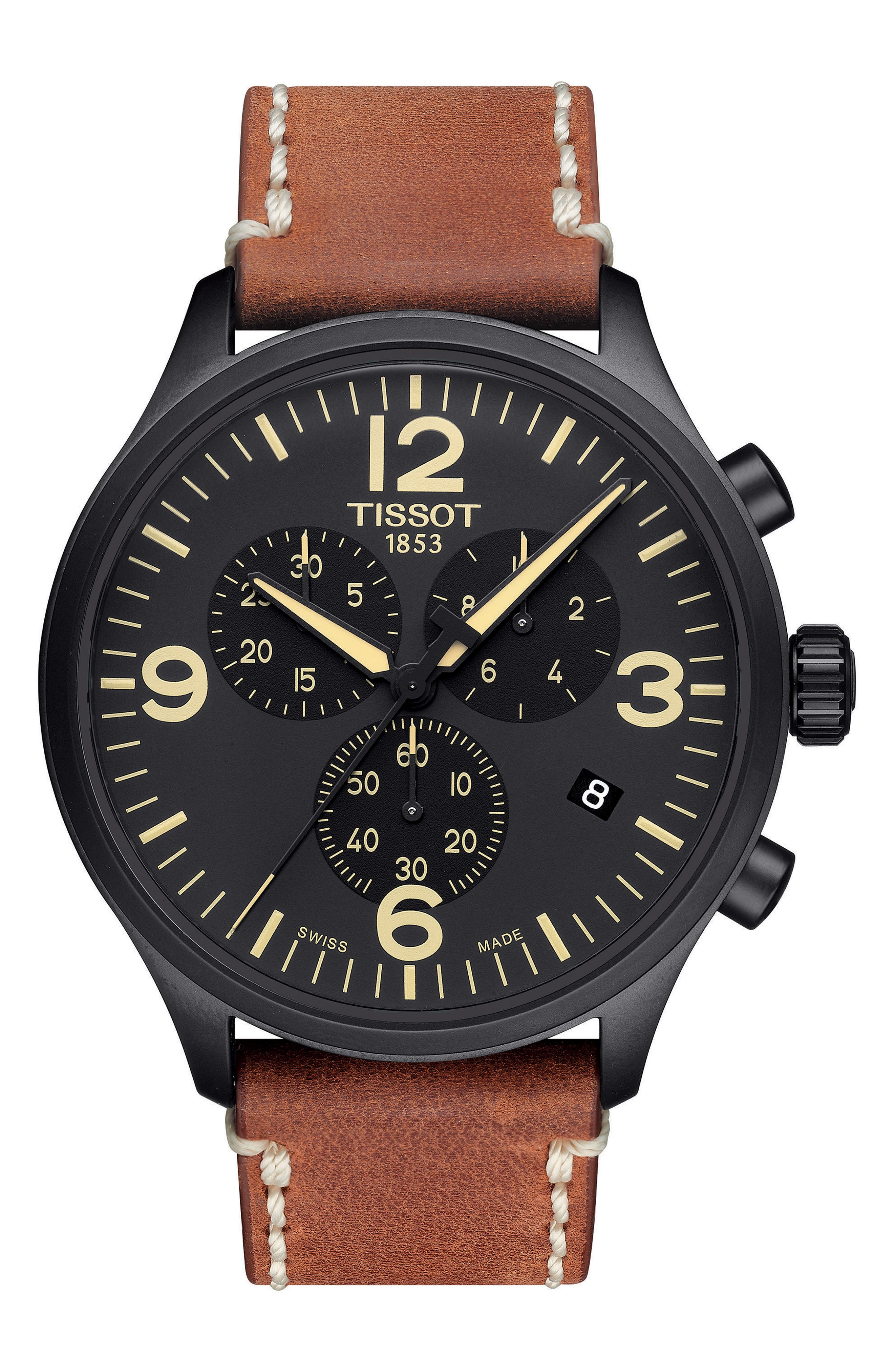 Chrono XL Leather Strap Chronograph Watch, 45mm,                             Main thumbnail 1, color,                             Brown/ Black