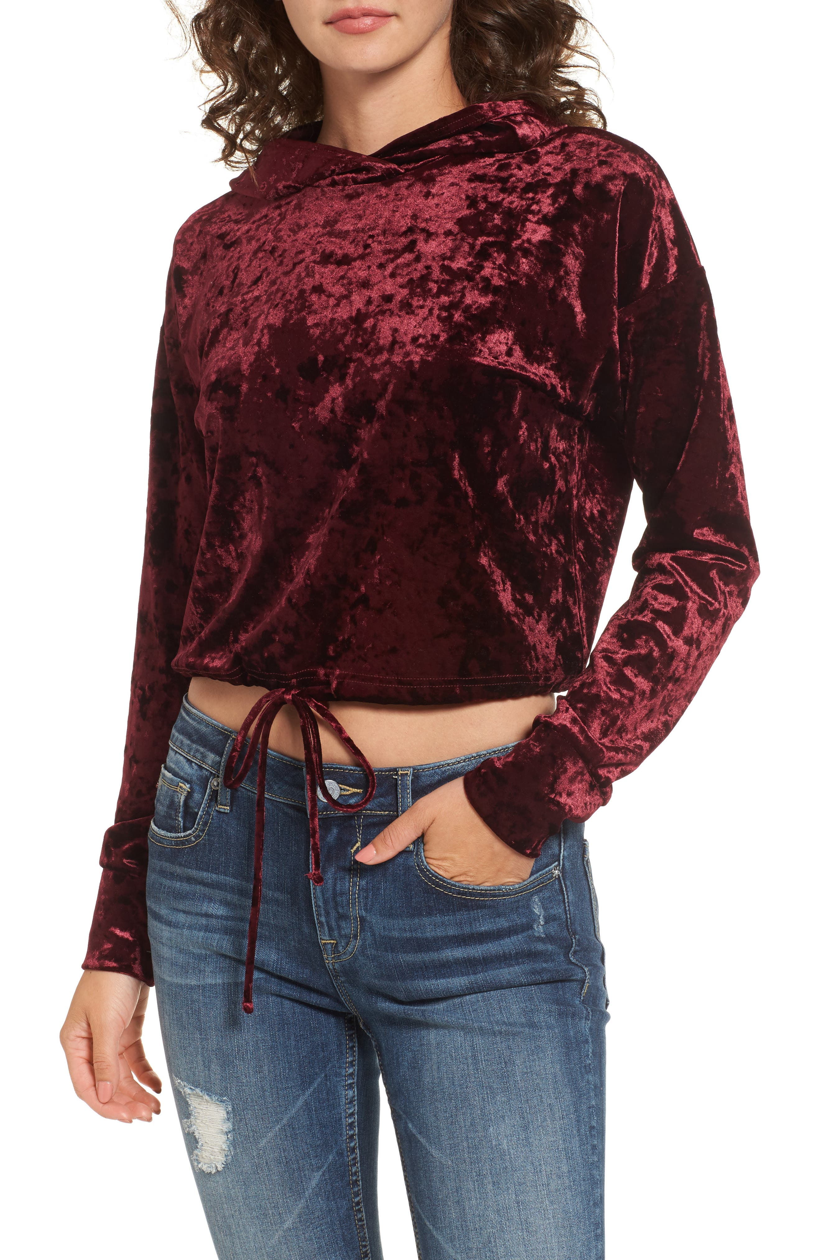 Mimi Chica Velour Hooded Pullover