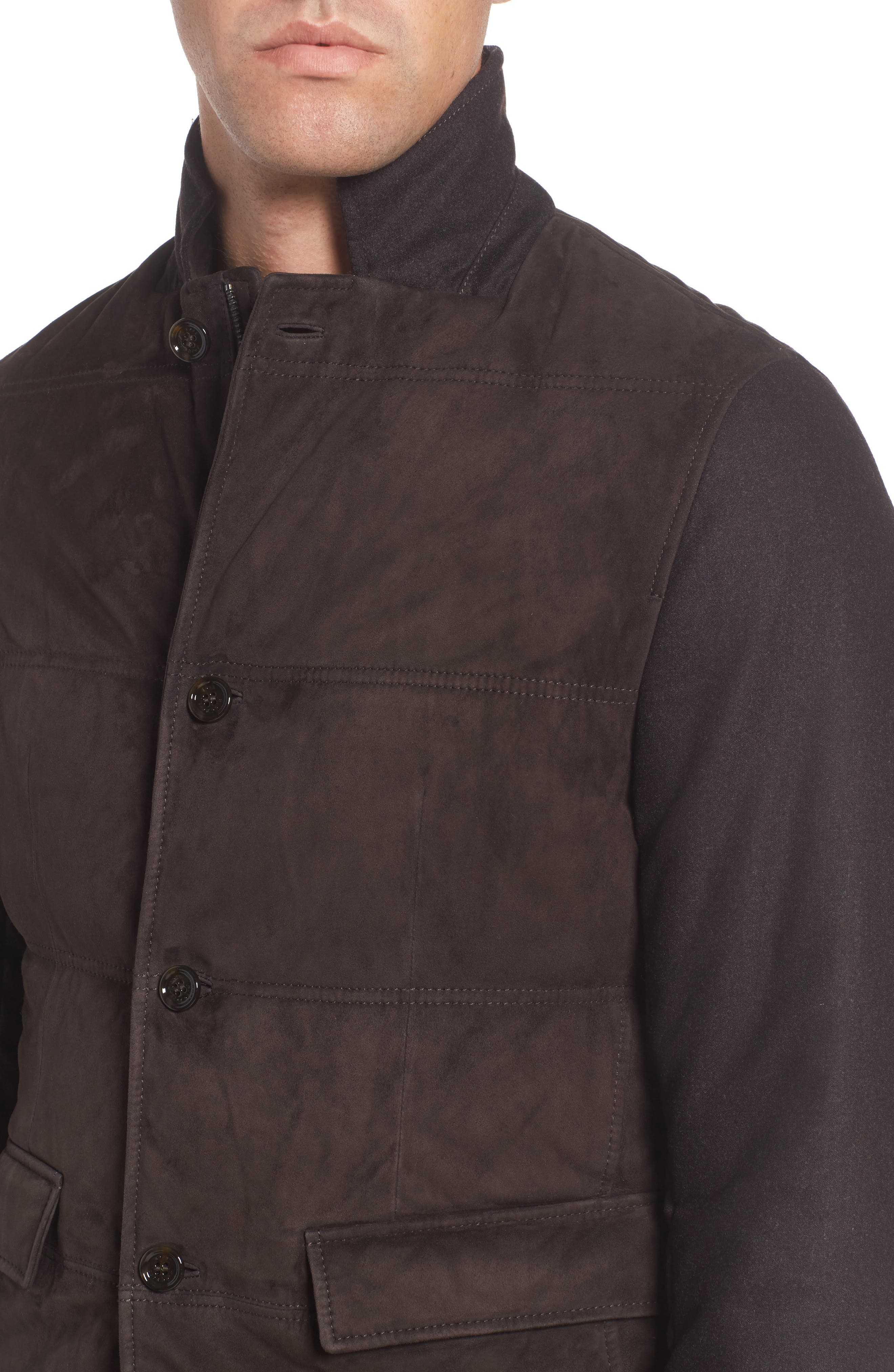 Alternate Image 4  - BOSS T-Cobas Slim Fit Mixed Media Jacket