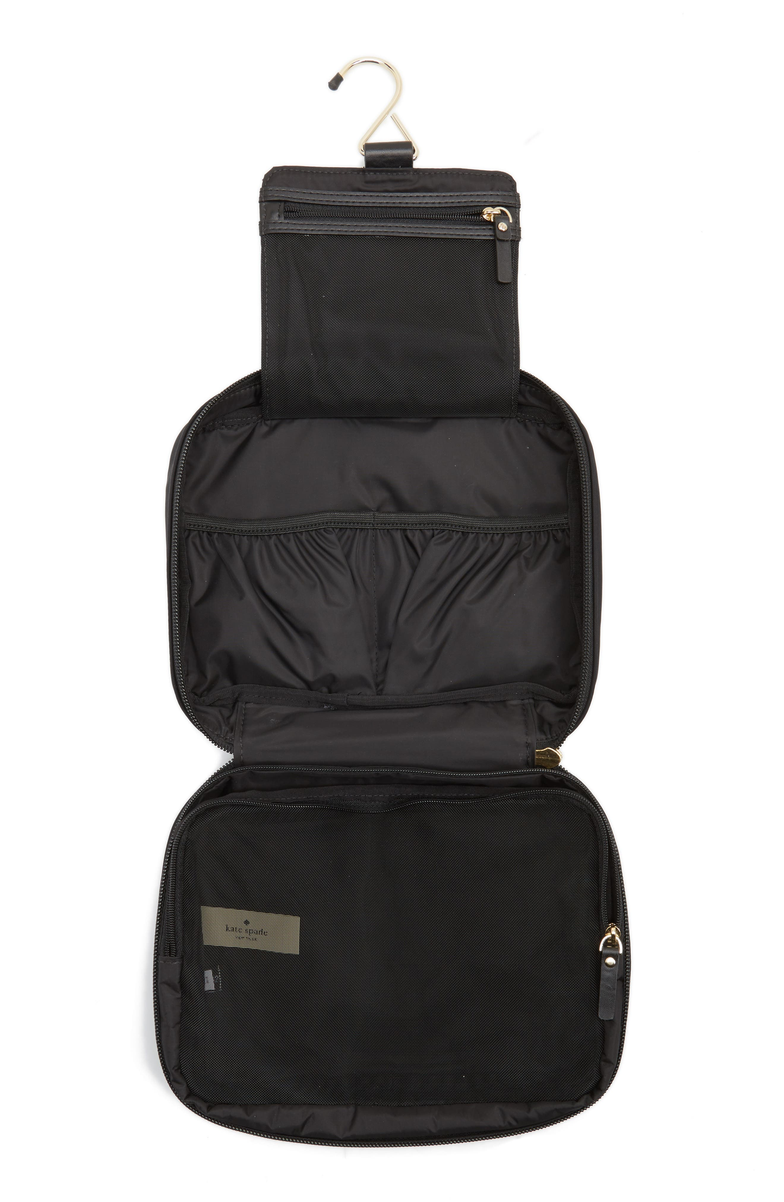 classic baylor nylon cosmetics case,                             Alternate thumbnail 3, color,                             Black