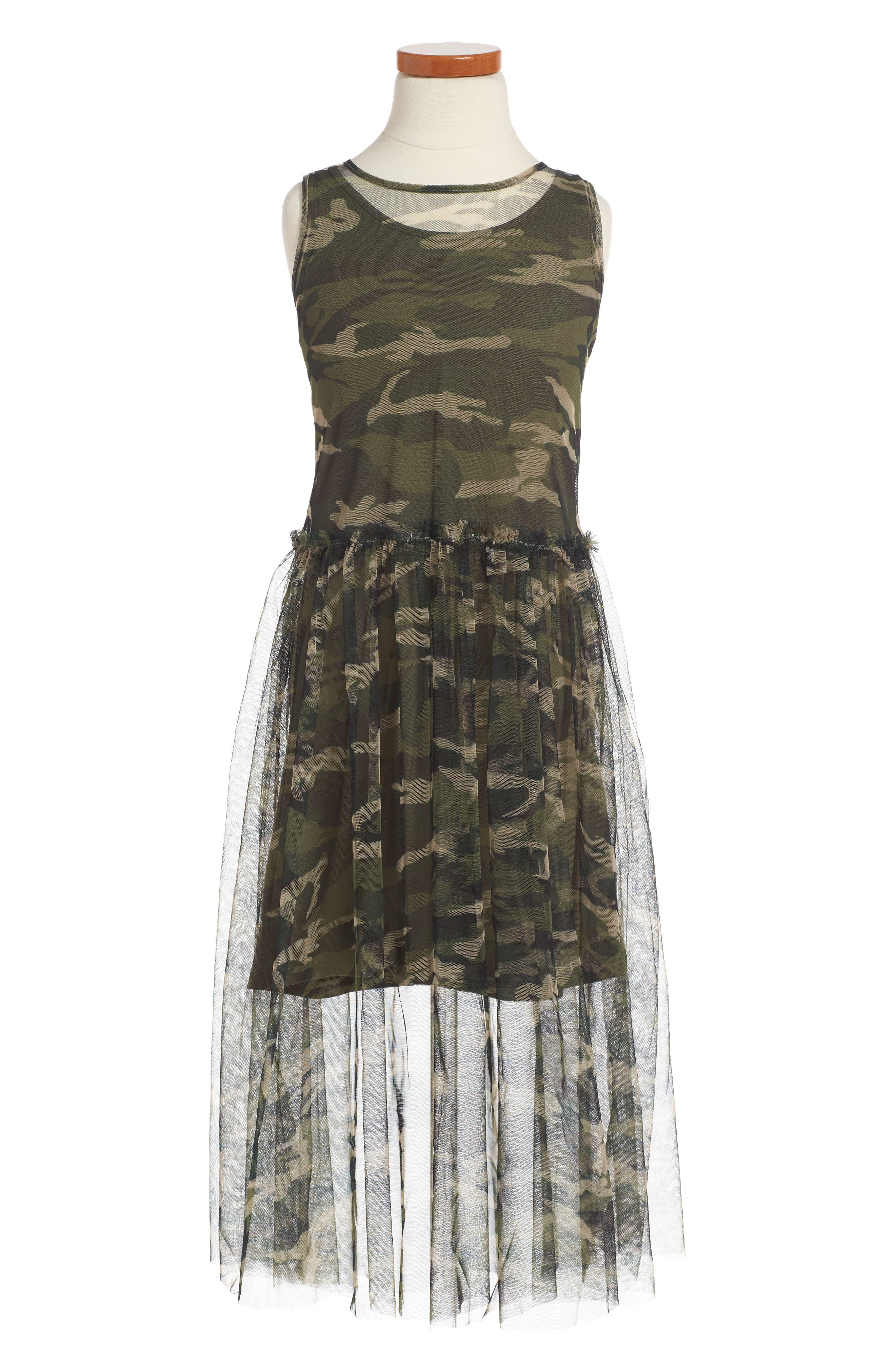 Tulle Overlay Tank Dress,                         Main,                         color, Camo Multi