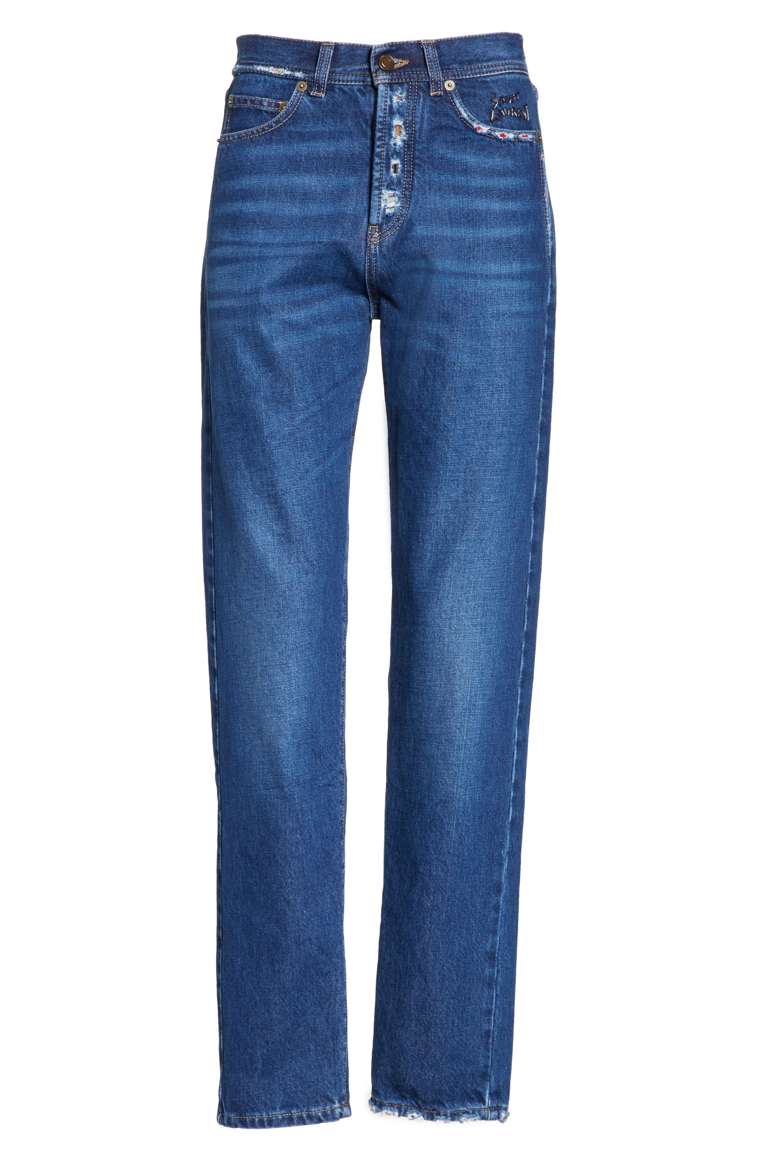 Alternate Image 6  - Saint Laurent Embroidered Jeans (Deep Dark Blue)