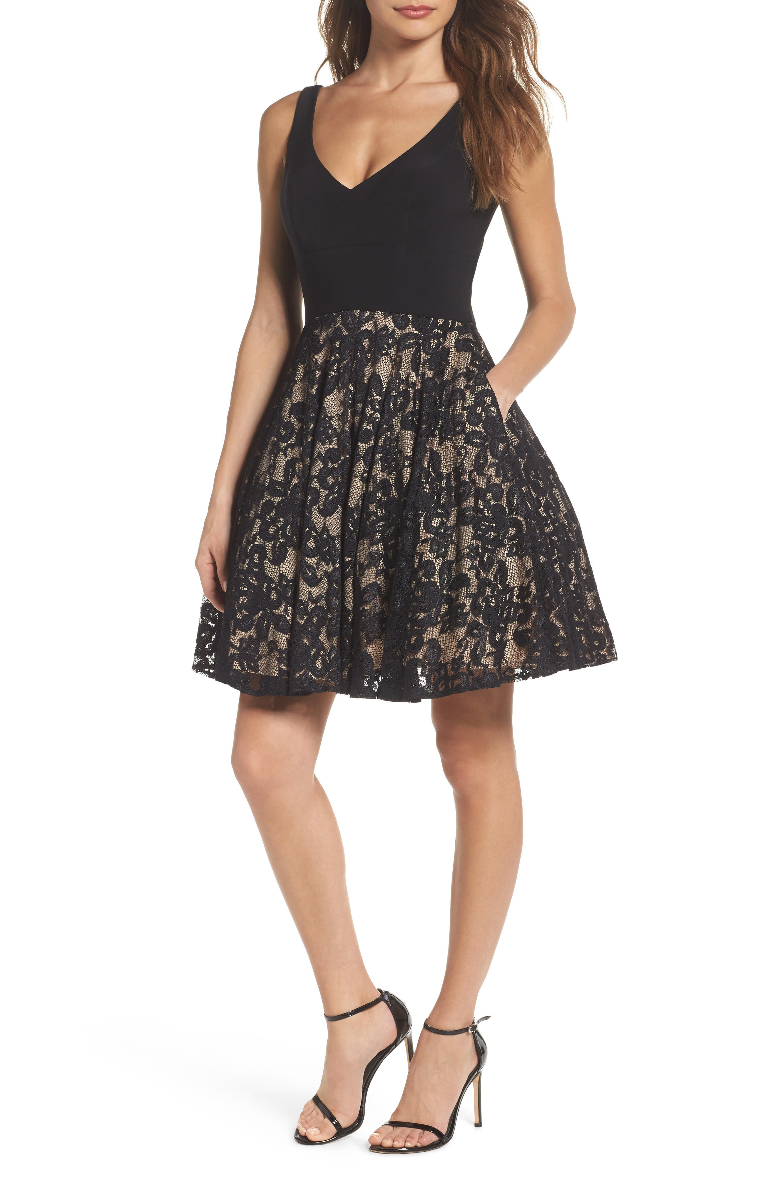 Jersey & Lace Party Dress,                         Main,                         color, Black/ Nude