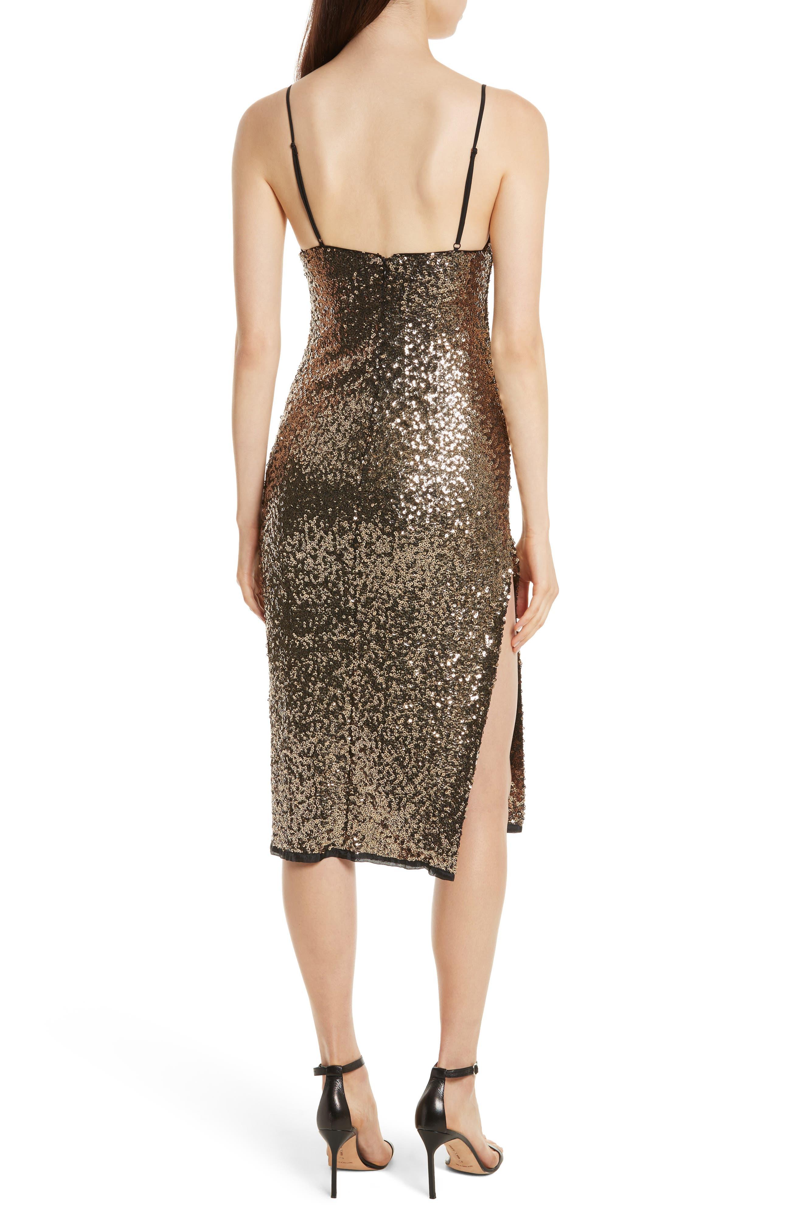 Alexis Sequin Camisole Dress,                             Alternate thumbnail 2, color,                             Antique Gold