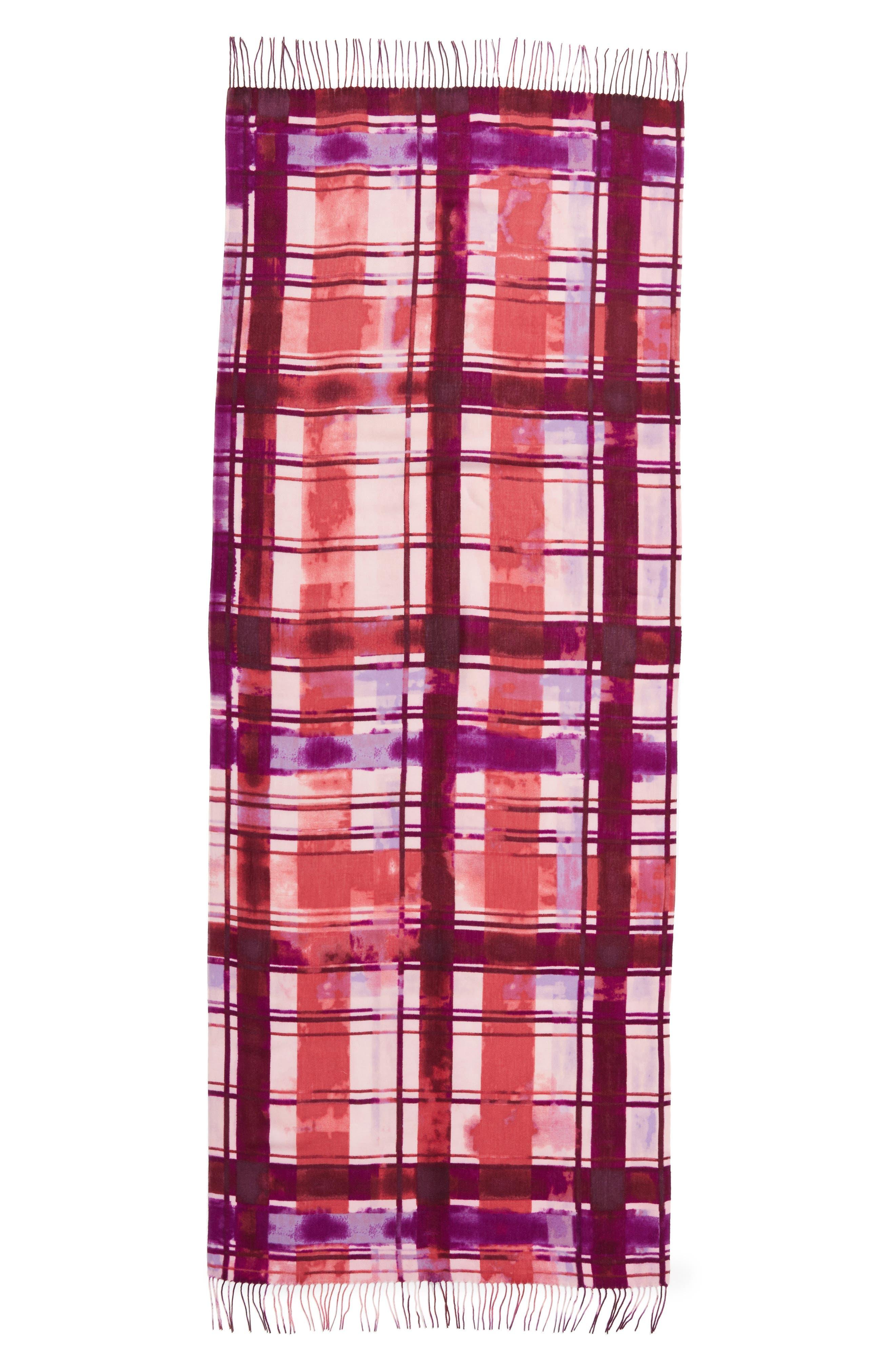 Alternate Image 2  - Nordstrom Handicraft Plaid Tissue Weight Wool & Cashmere Scarf
