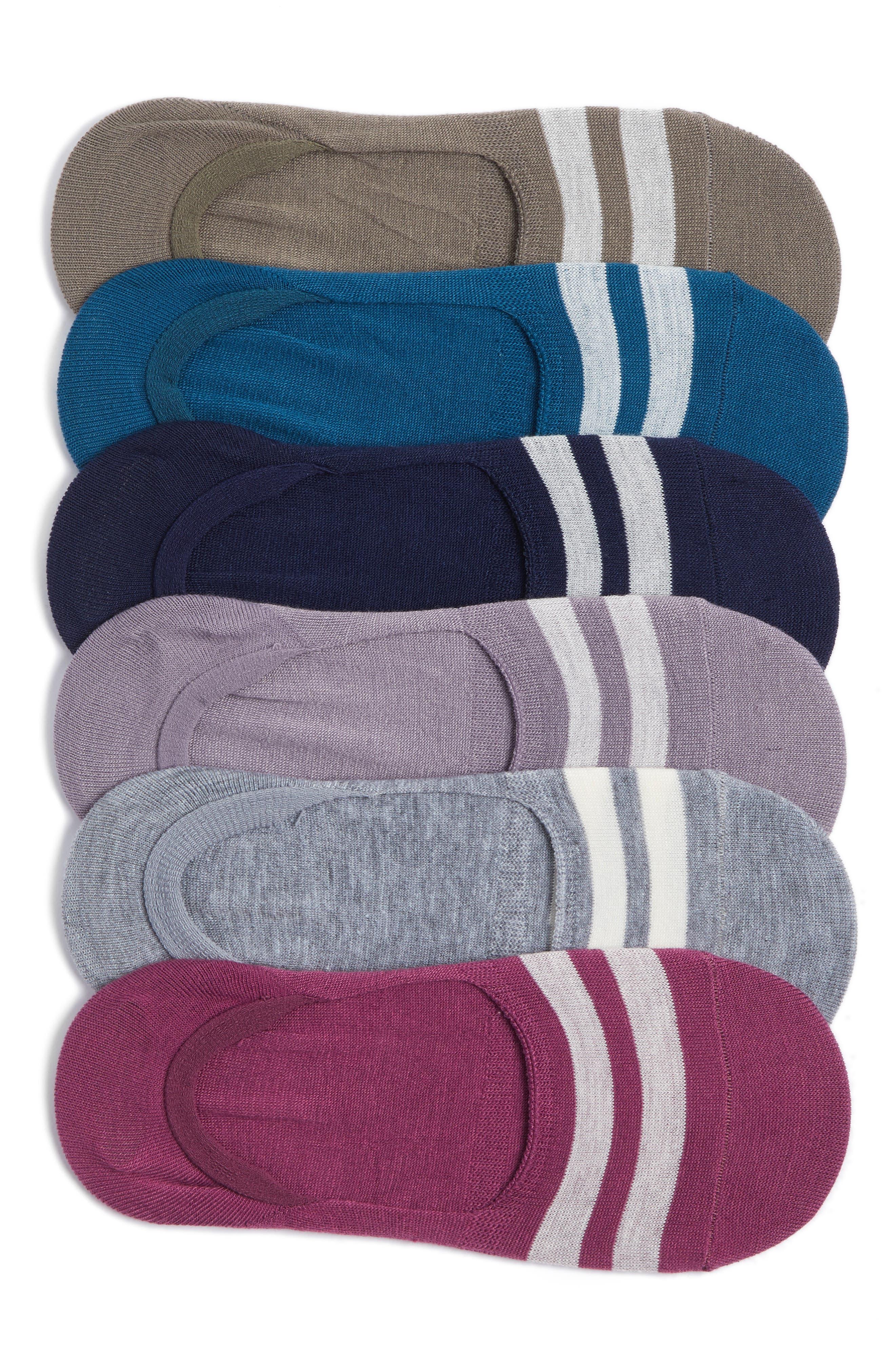 Varsity Stripe No-Show Socks,                             Main thumbnail 1, color,                             Grey Assorted