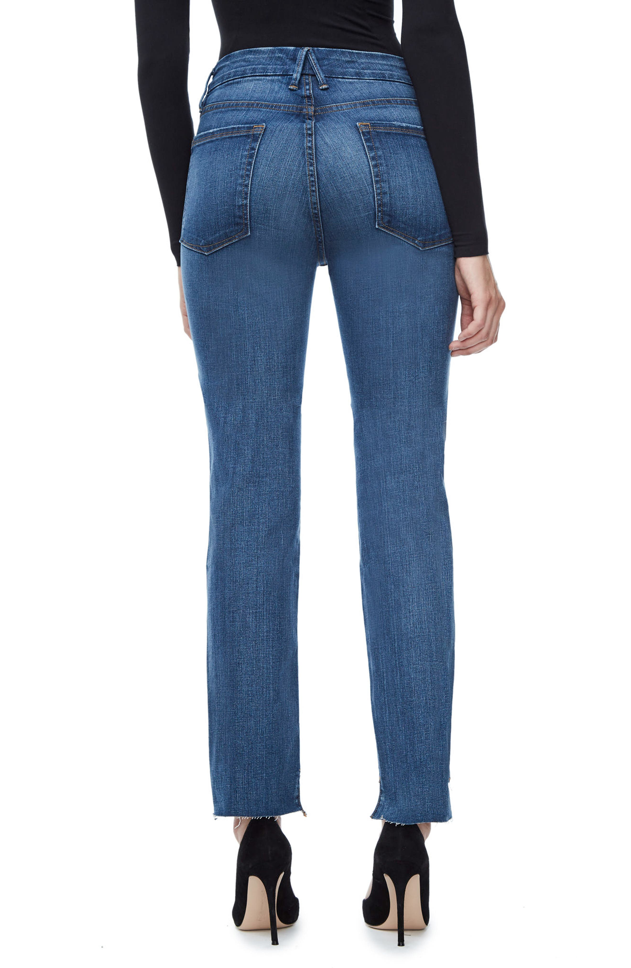 Alternate Image 3  - Good American Good Straight Raw Hem High Waist Straight Leg Jeans (Blue 086) (Extended Sizes)