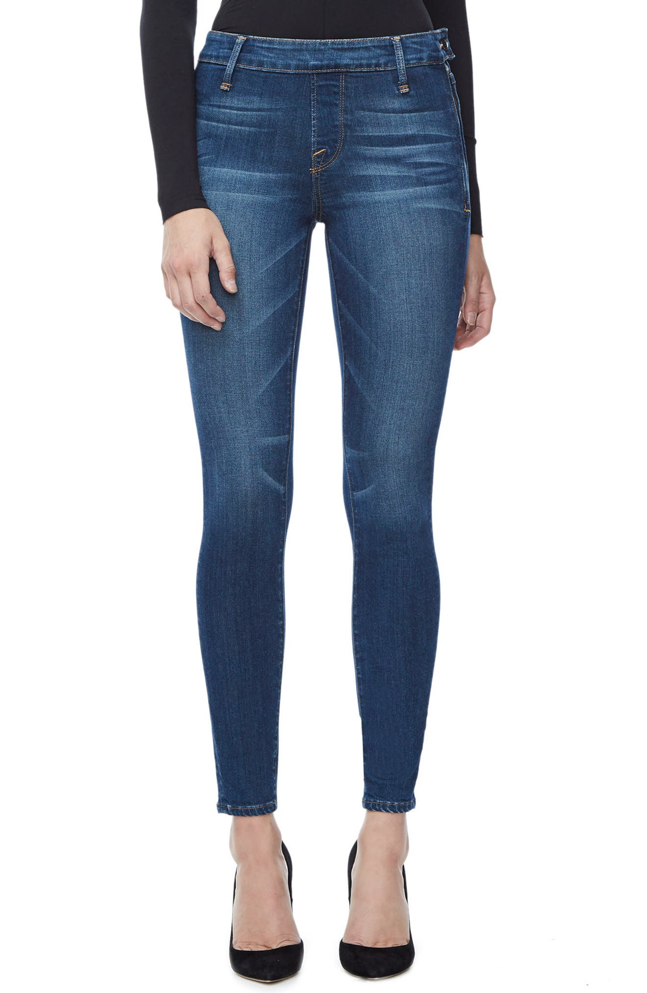 Alternate Image 1 Selected - Good American The Slim Zip High Waist Ankle Skinny Jeans (Blue 013) (Regular & Plus Size)