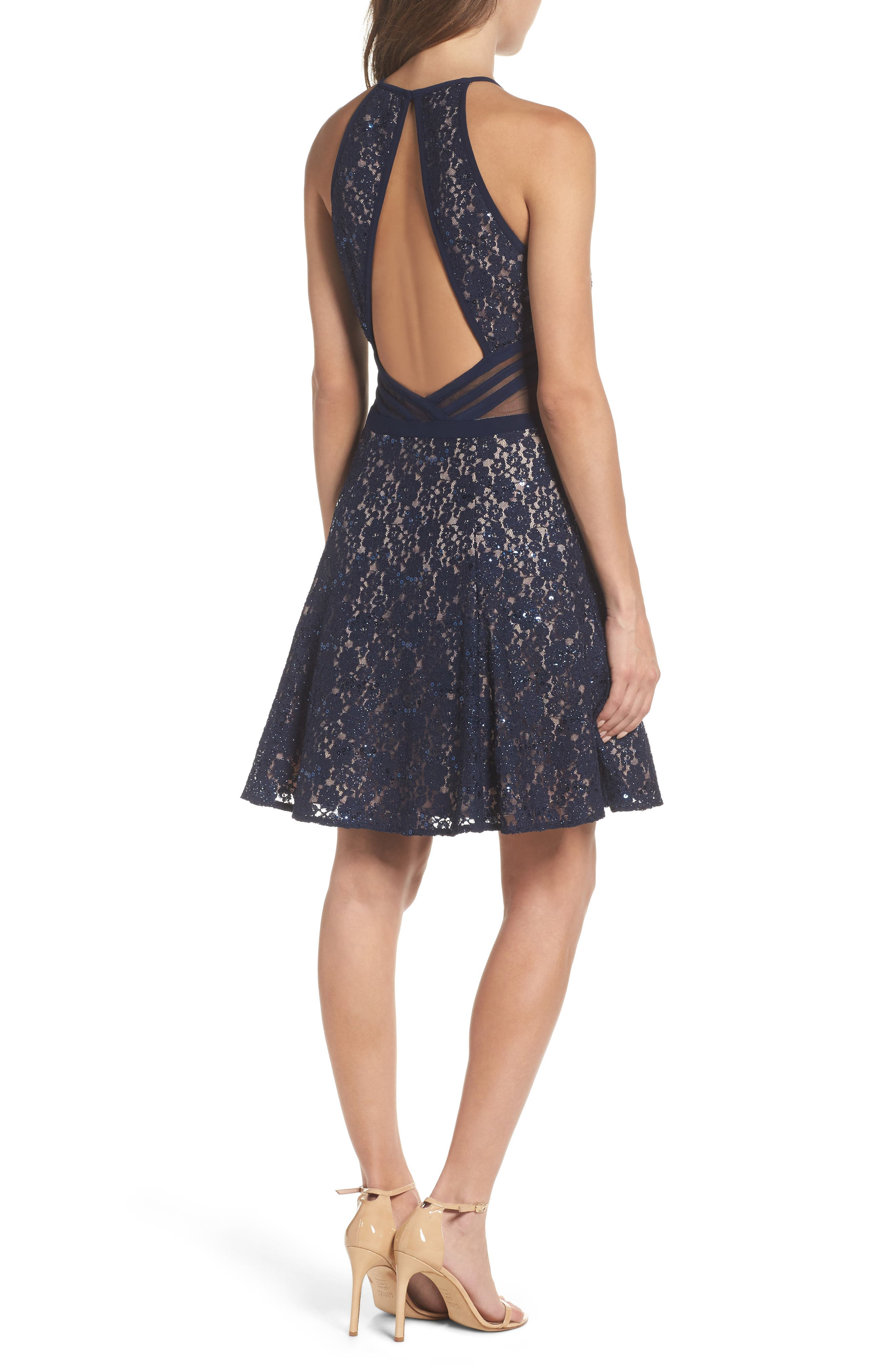 Alternate Image 2  - Morgan & Co. Sheer Inset Lace Fit & Flare Dress