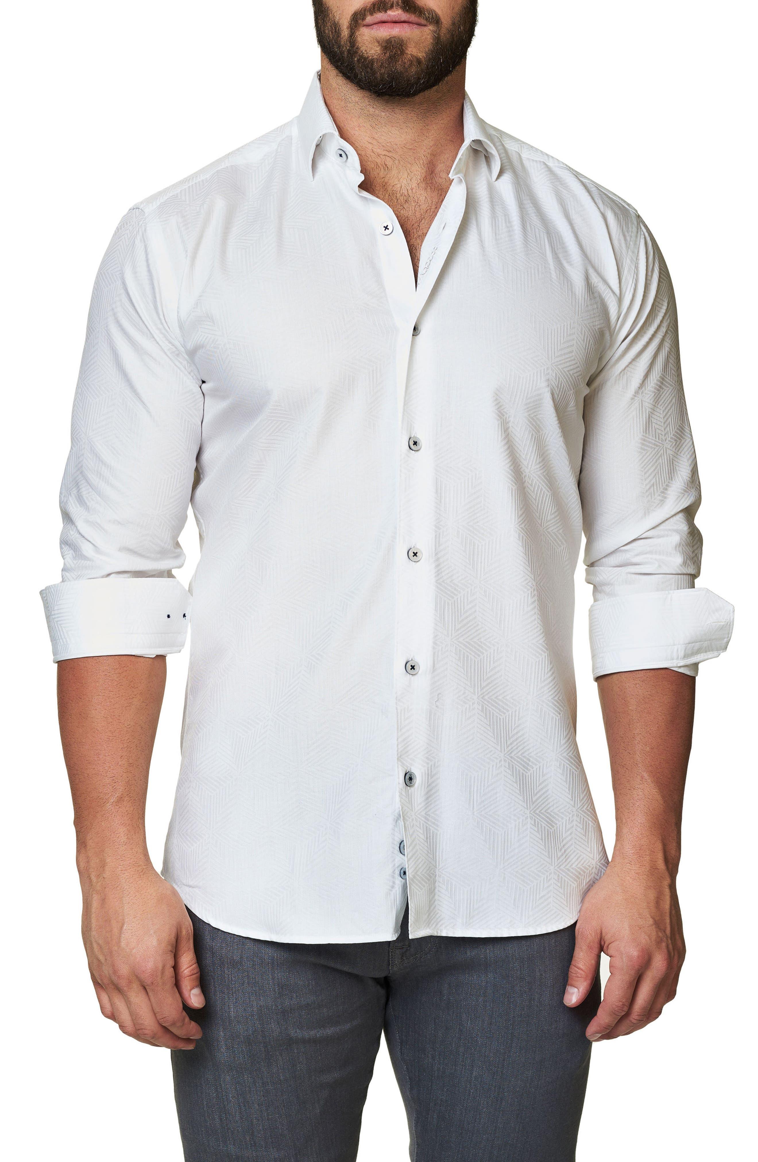 Maceoo Trim Fit Geo Jacquard Sport Shirt