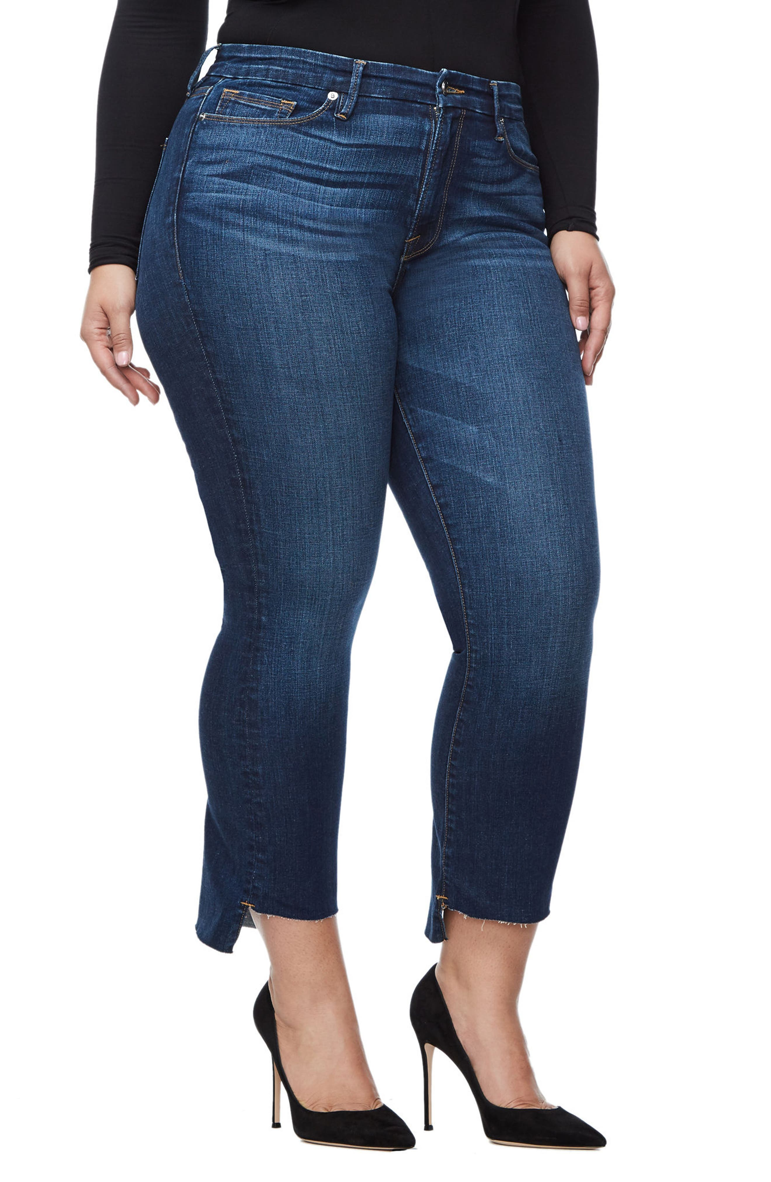 Alternate Image 6  - Good American Good Boot Crop Step Hem Bootcut Jeans (Blue 091) (Extended Sizes)