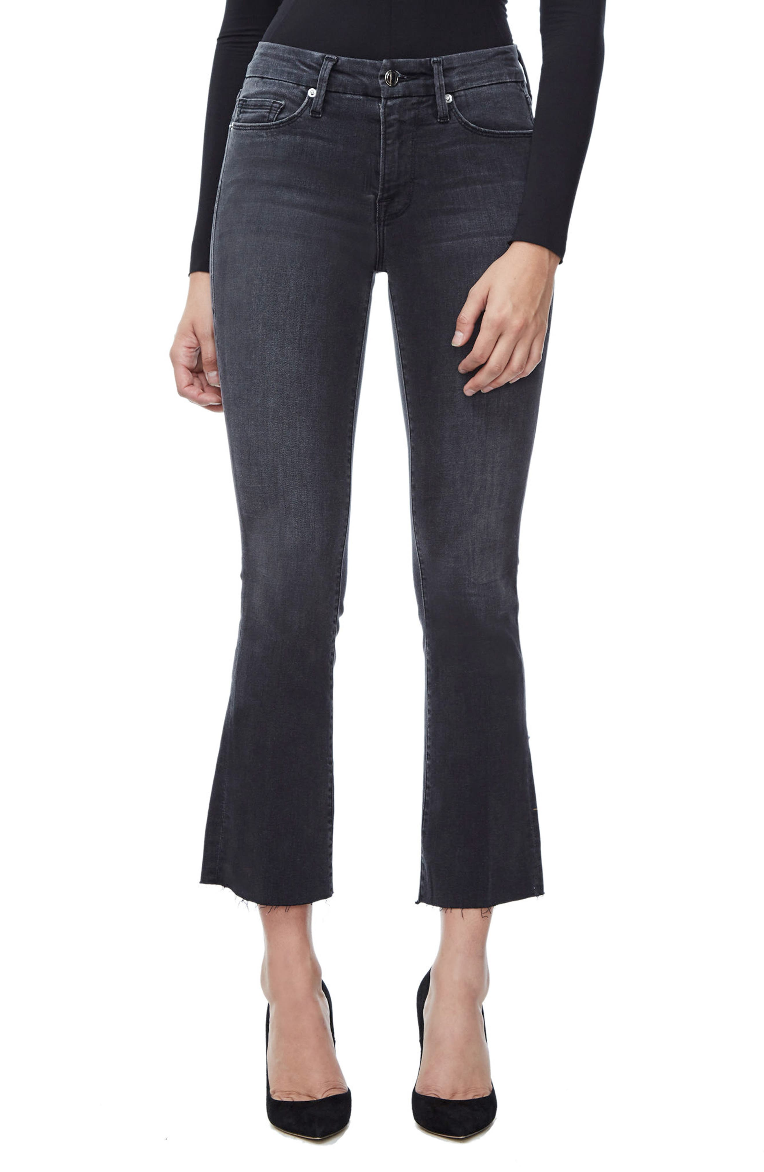 Alternate Image 1 Selected - Good American Good Boot Crop Bootcut Jeans (Black 008) (Regular & Plus Size)