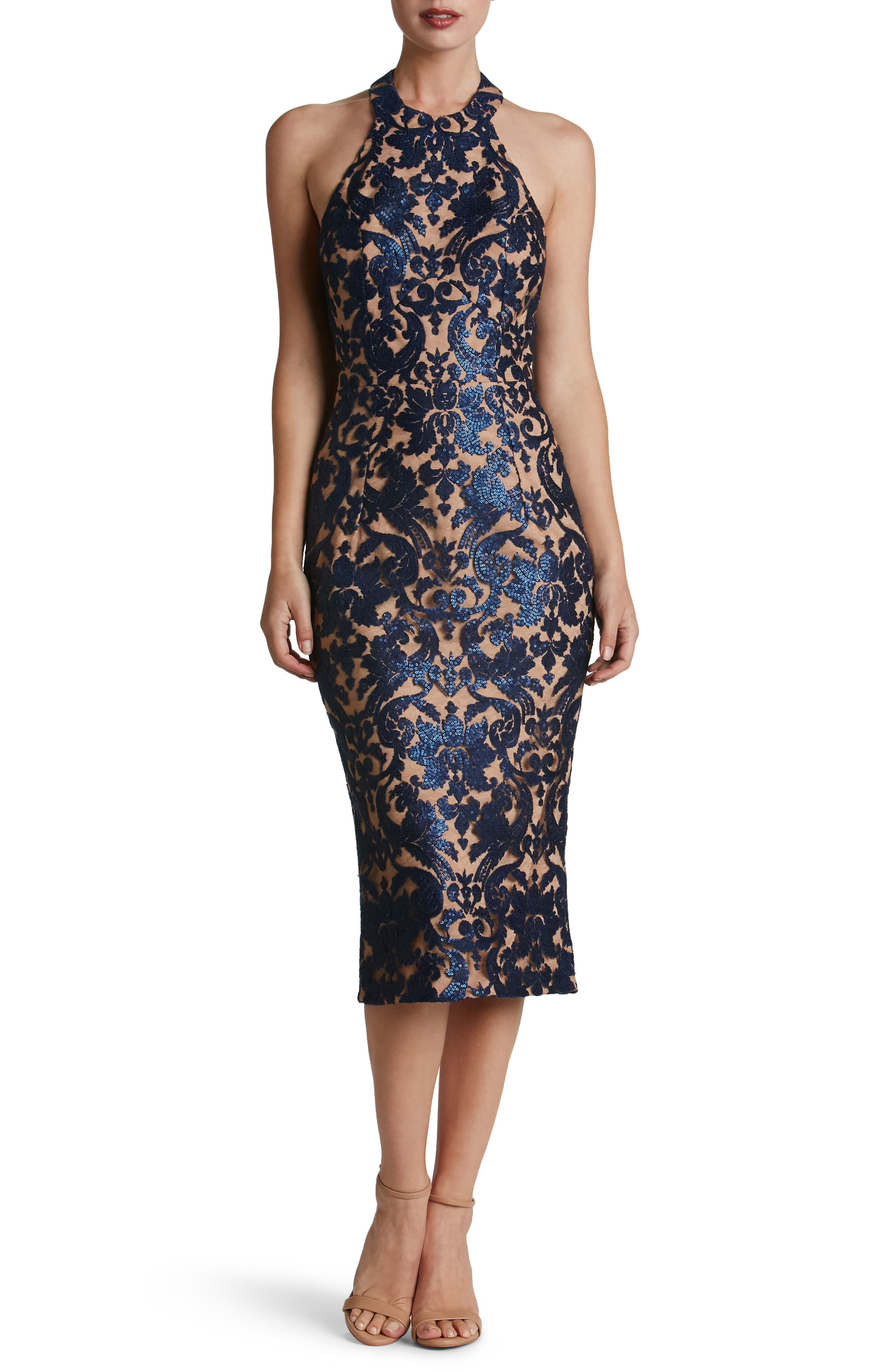 Cassie Sequin Midi Dress,                         Main,                         color, Navy/ Nude