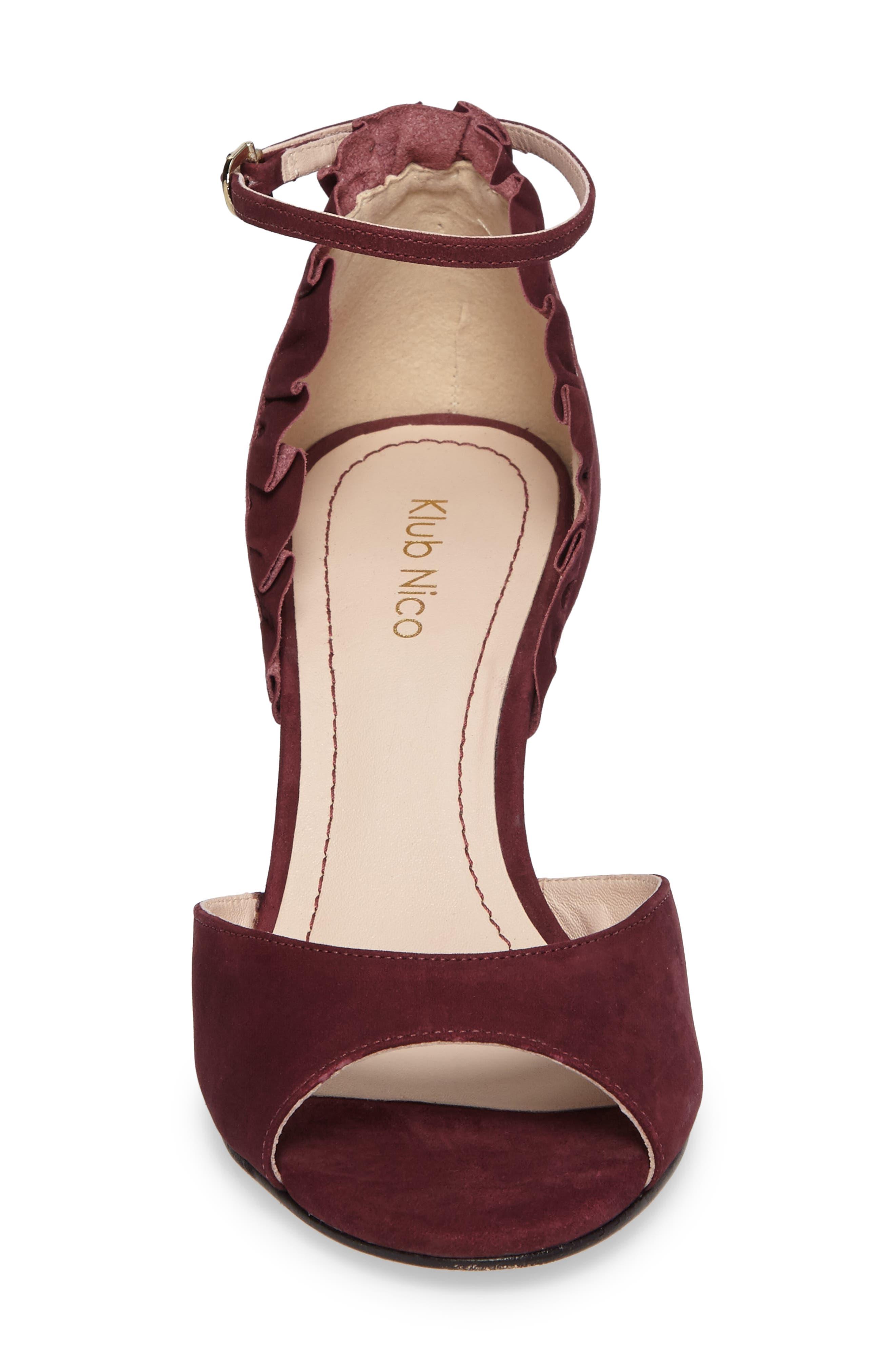 Alisa d'Orsay Sandal,                             Alternate thumbnail 4, color,                             Wine Nubuck Leather