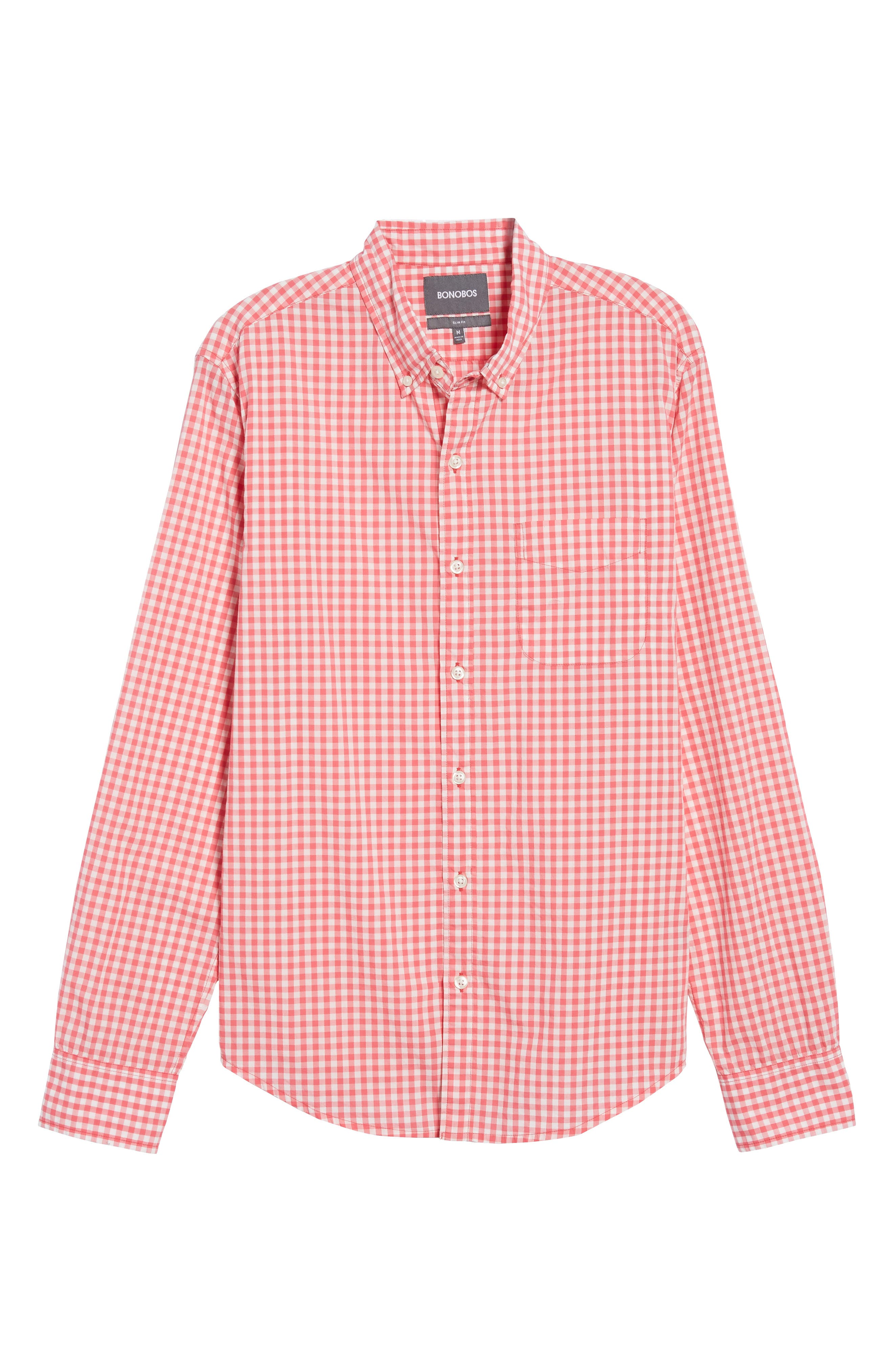 Slim Fit Summerweight Check Sport Shirt,                             Alternate thumbnail 6, color,                             Coral Ribbon Gingham