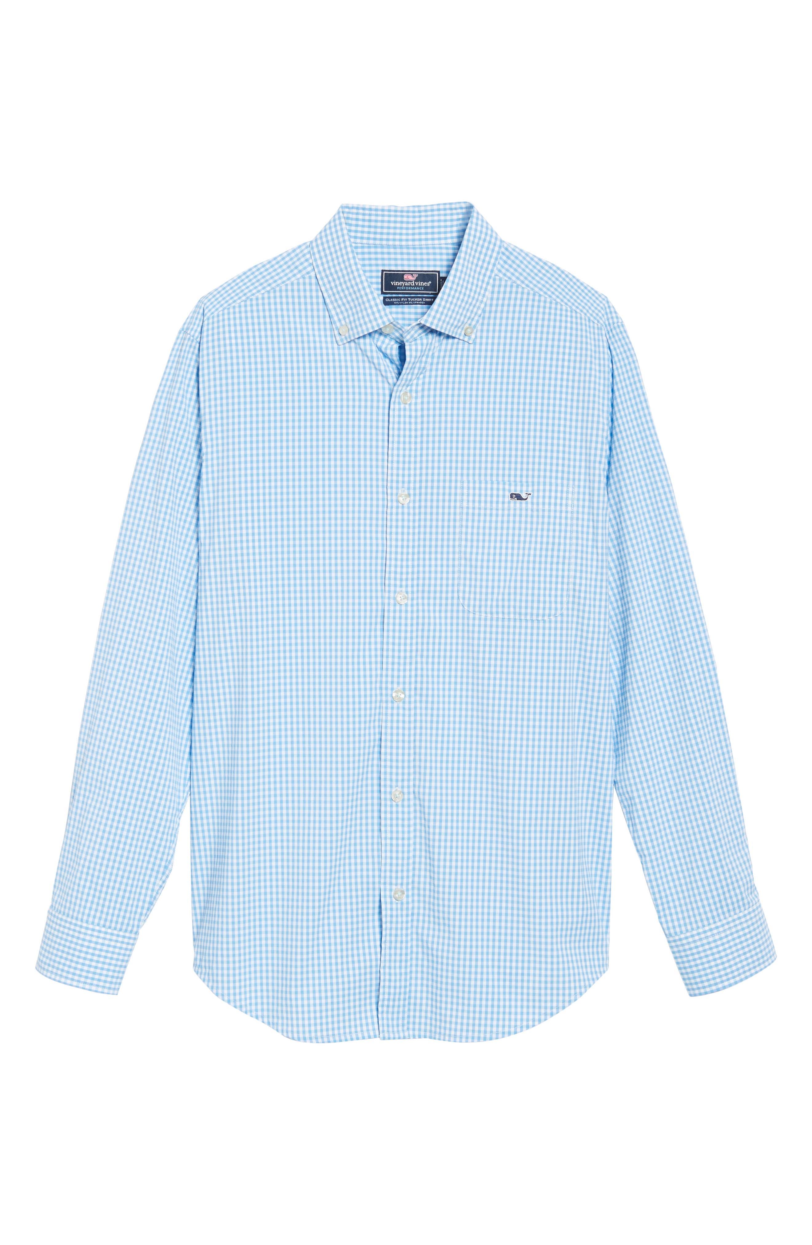 Seawater Gingham Performance Sport Shirt,                             Alternate thumbnail 6, color,                             Hull Blue