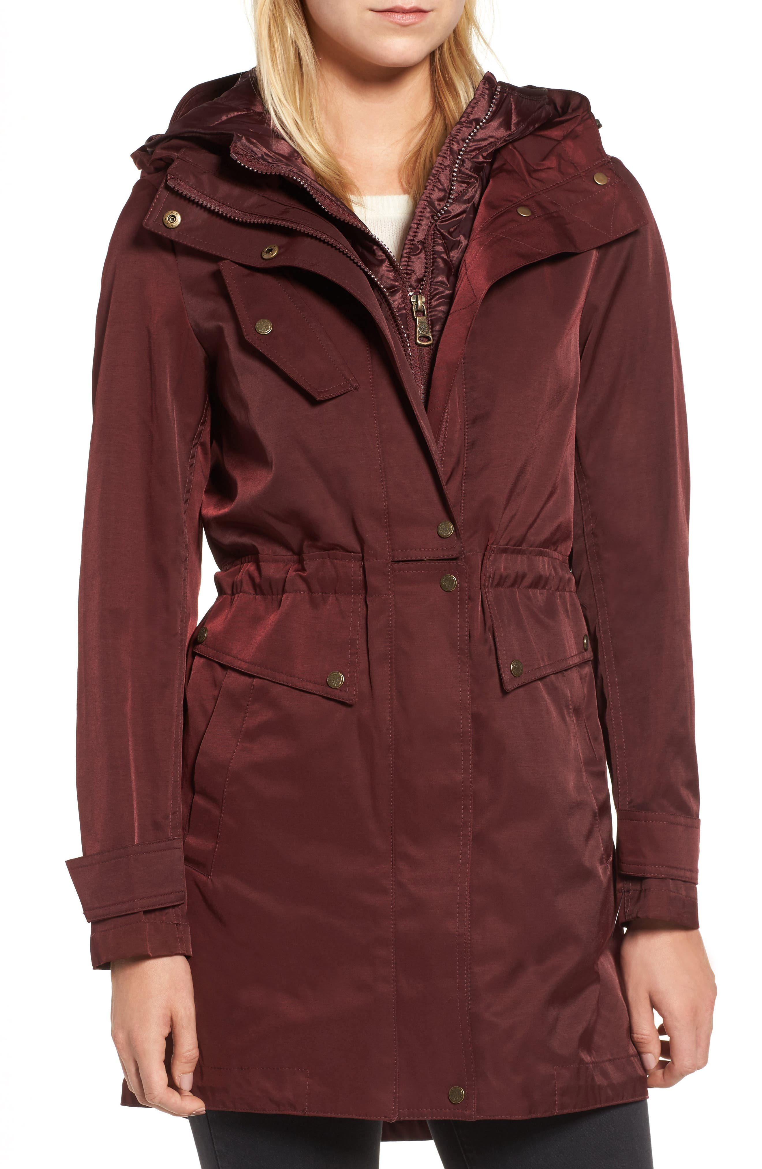 Parka with Detachable Bib Insert,                             Alternate thumbnail 4, color,                             Burgundy