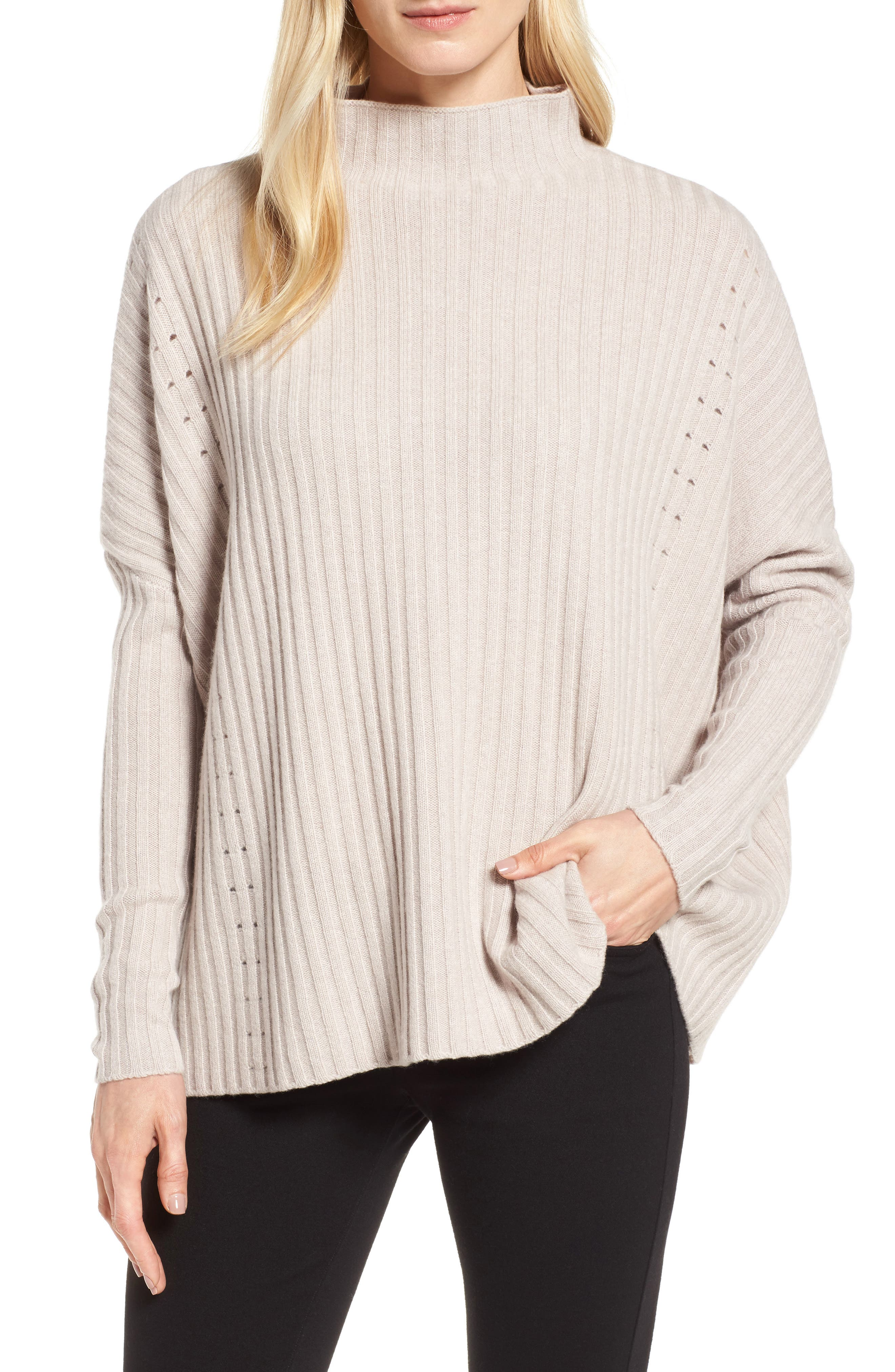 Boxy Ribbed Cashmere Sweater,                             Main thumbnail 1, color,                             Beige Pumice Heather