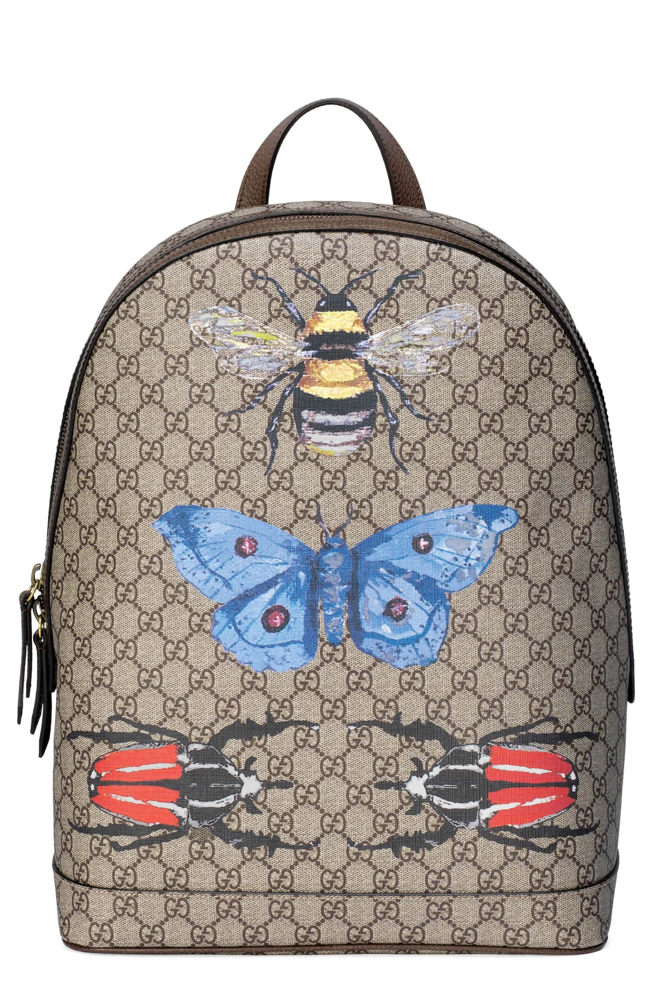 Alternate Image 1 Selected - Gucci Insect Print GG Supreme Canvas Backpack