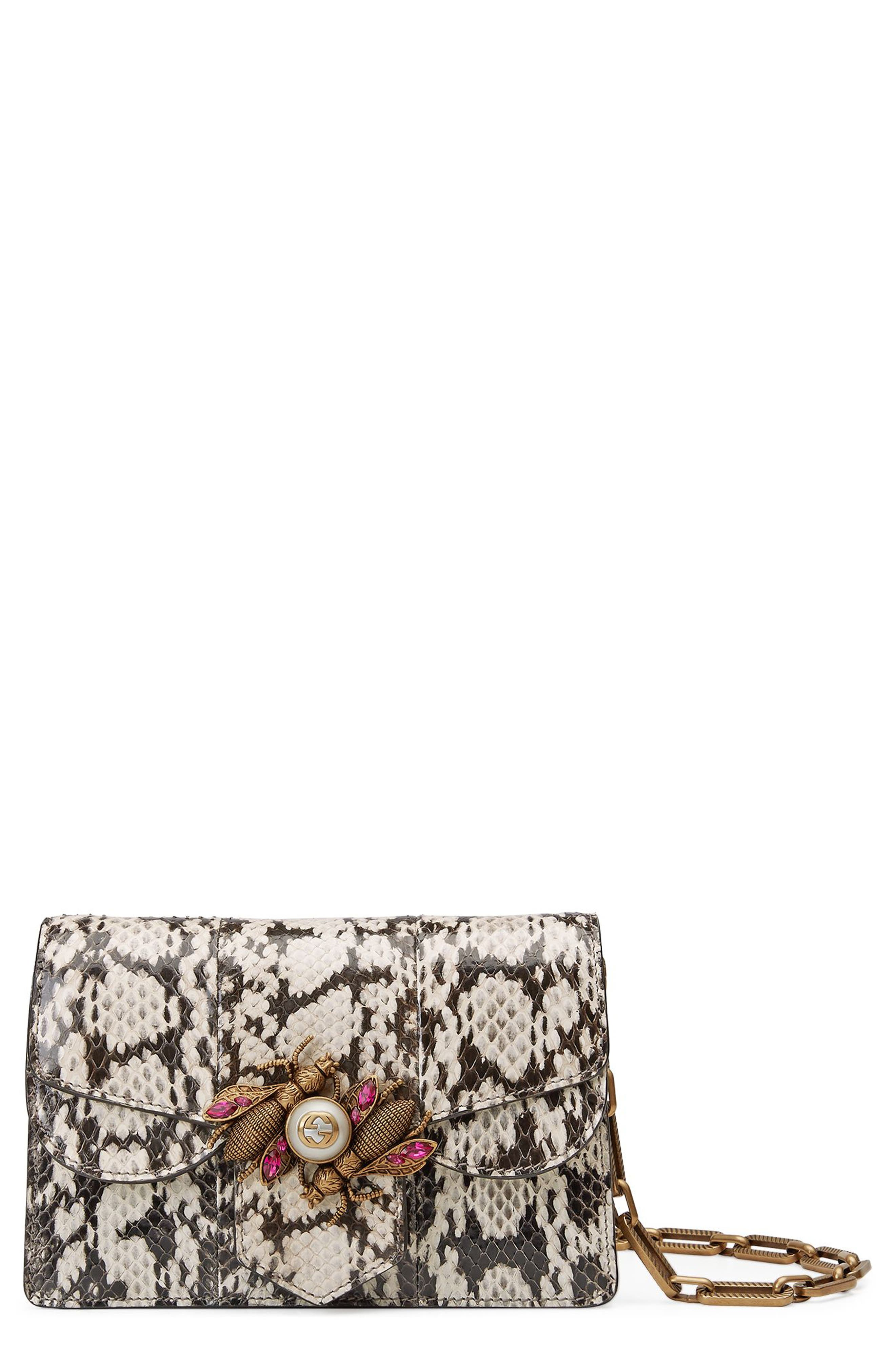 Main Image - Gucci Mini Broadway Bee Genuine Snakeskin Shoulder Bag