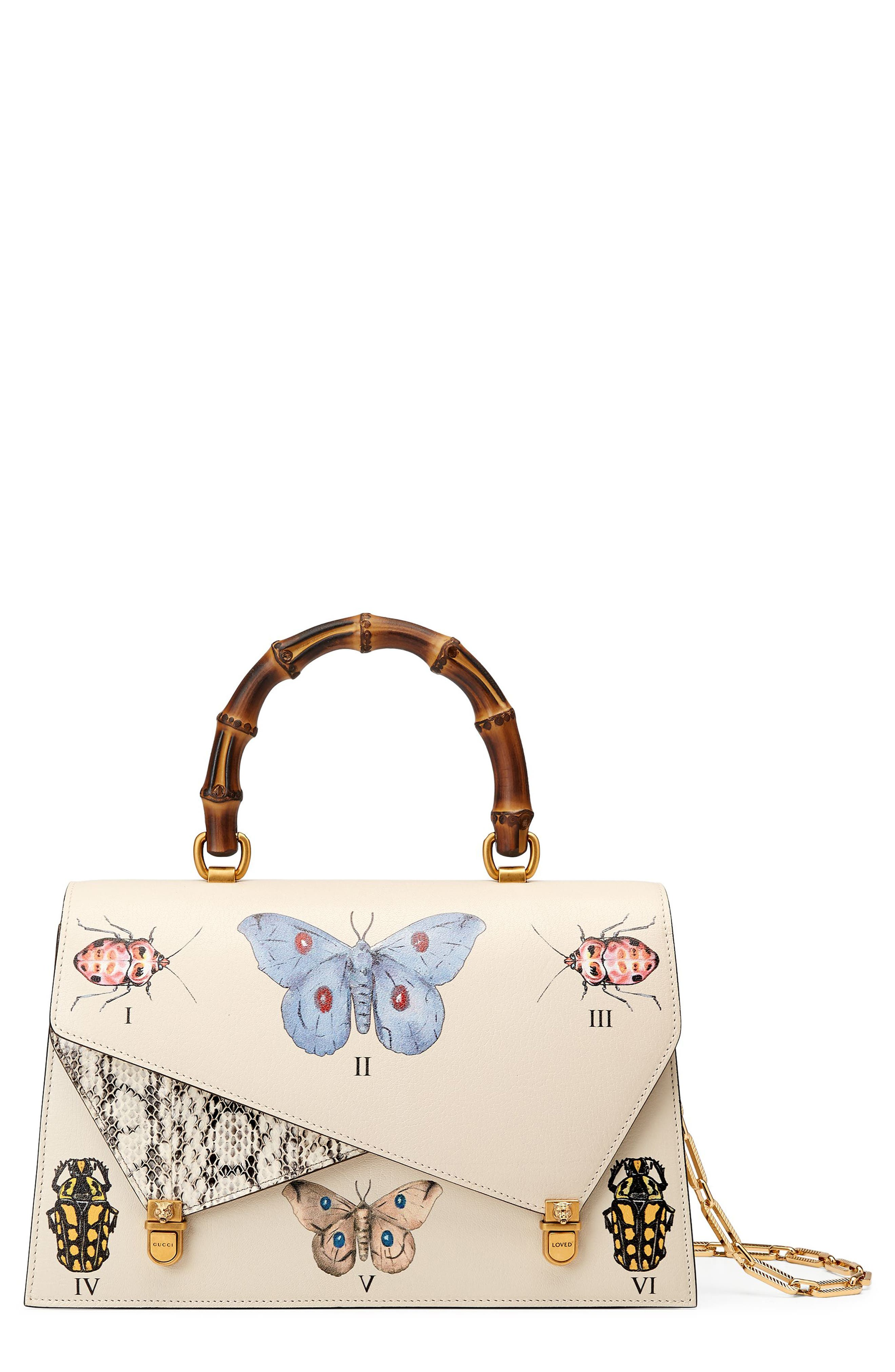 Gucci Medium Linea P Butterfly Painted Leather & Genuine Snakeskin Top Handle Satchel