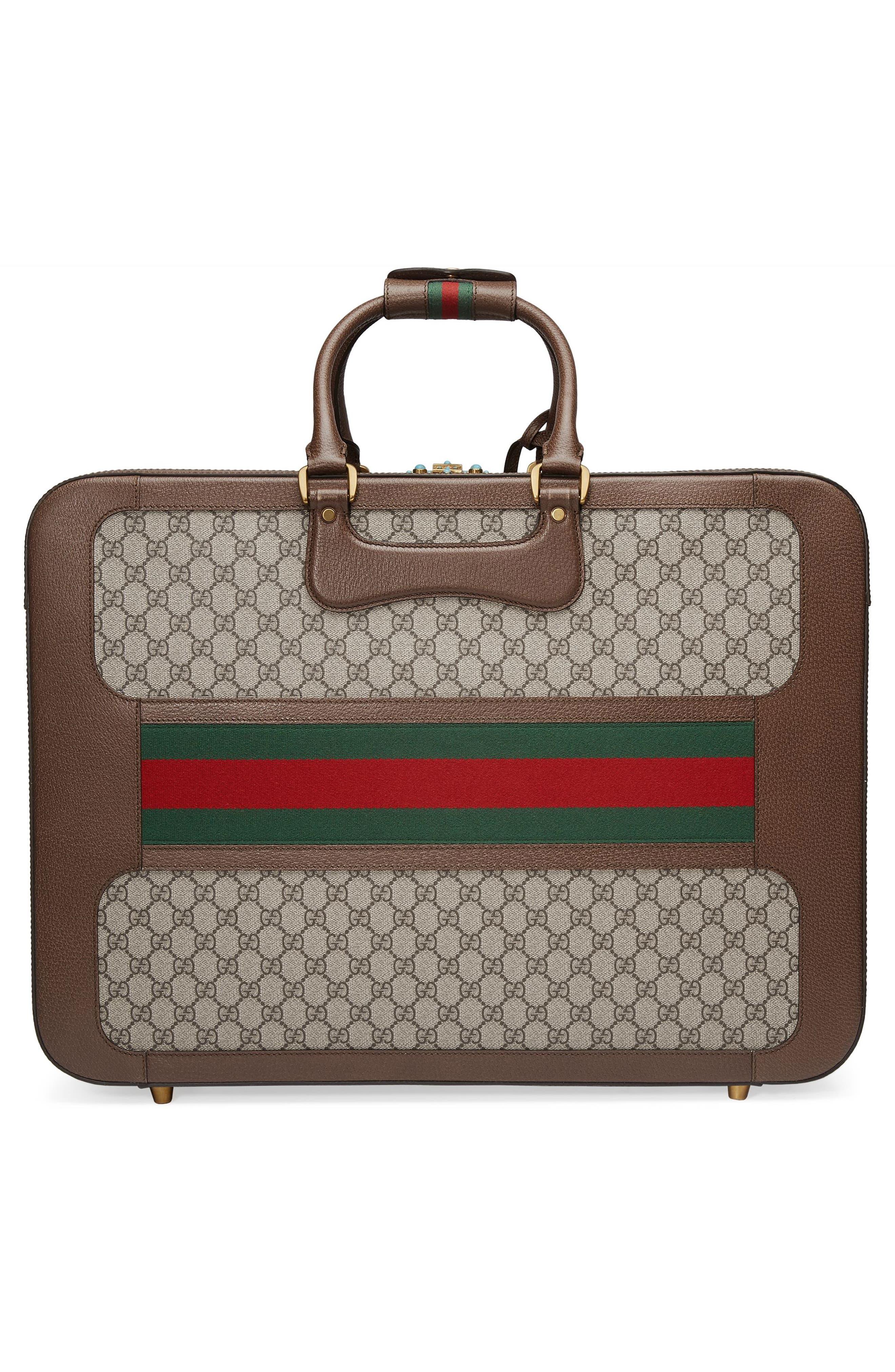 Large Echo GG Supreme Canvas & Leather Suitcase,                             Alternate thumbnail 3, color,                             Beige/ Ebony