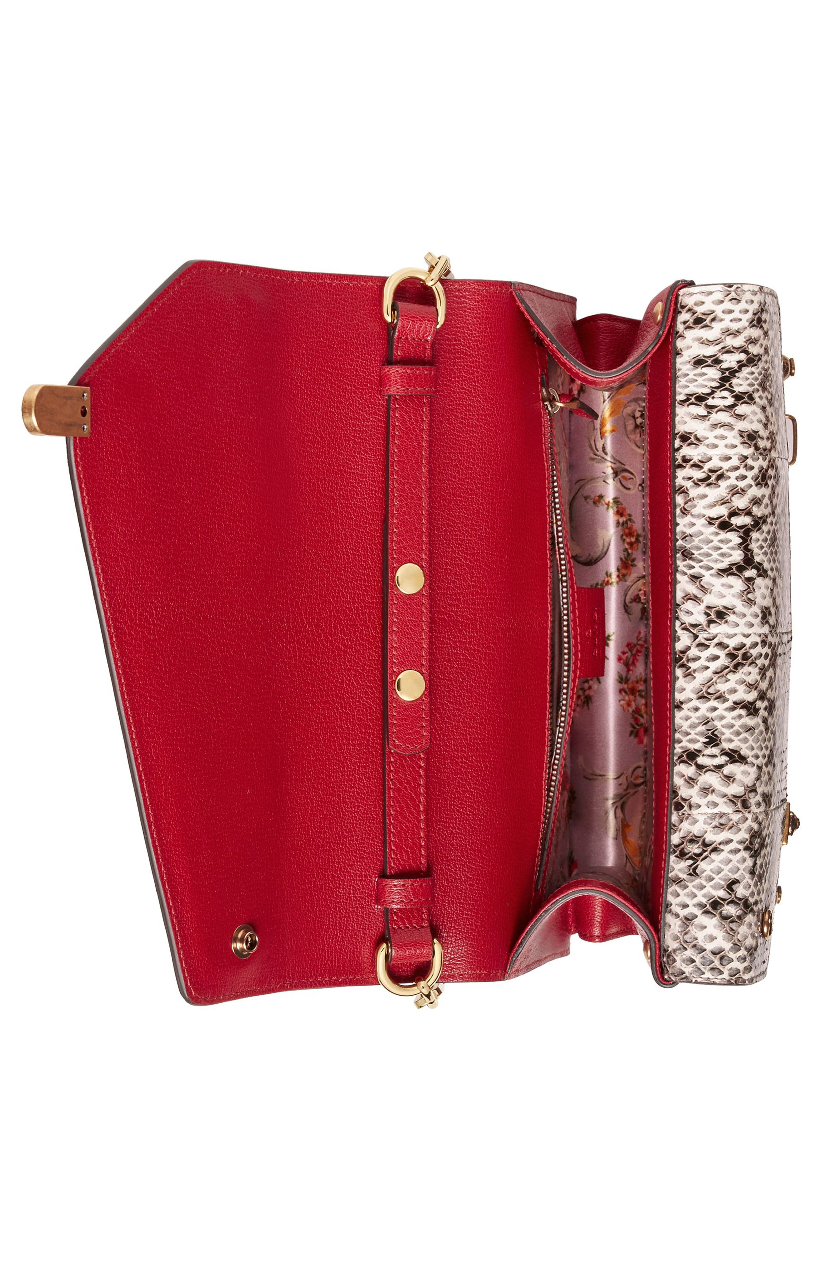 Small Linea P Painted Insects Leather Top Handle Satchel,                             Alternate thumbnail 4, color,                             Rosso