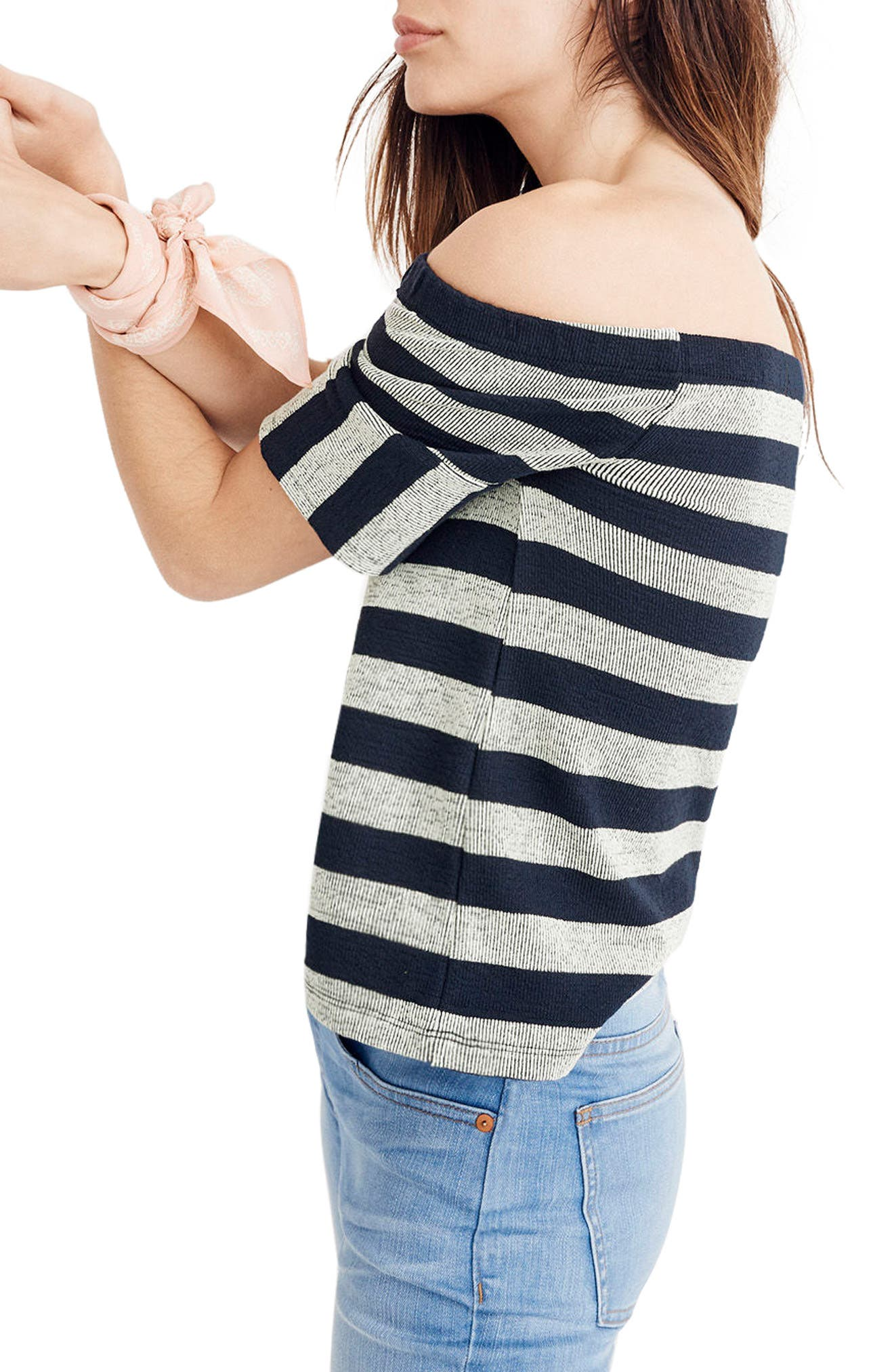 Stripe Off the Shoulder Texture Top,                             Alternate thumbnail 2, color,                             Deep Navy