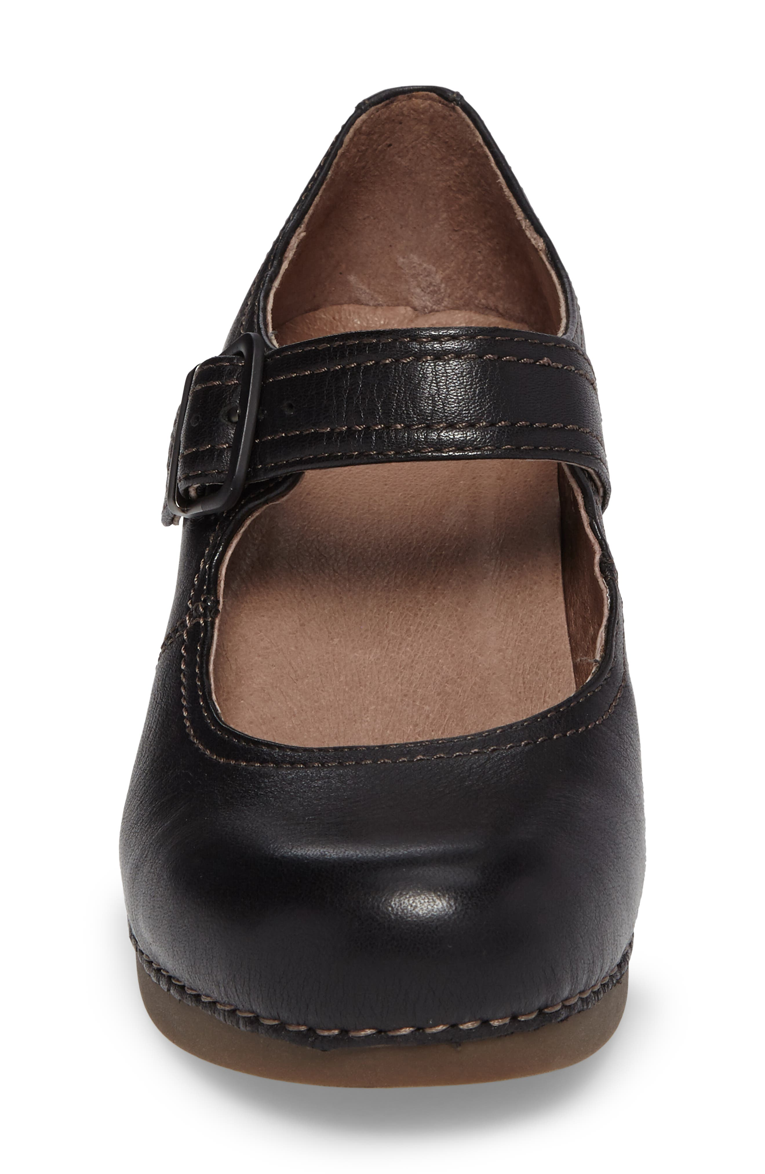 'Sandra' Mary Jane Wedge,                             Alternate thumbnail 3, color,                             Black Milled Nappa Leather