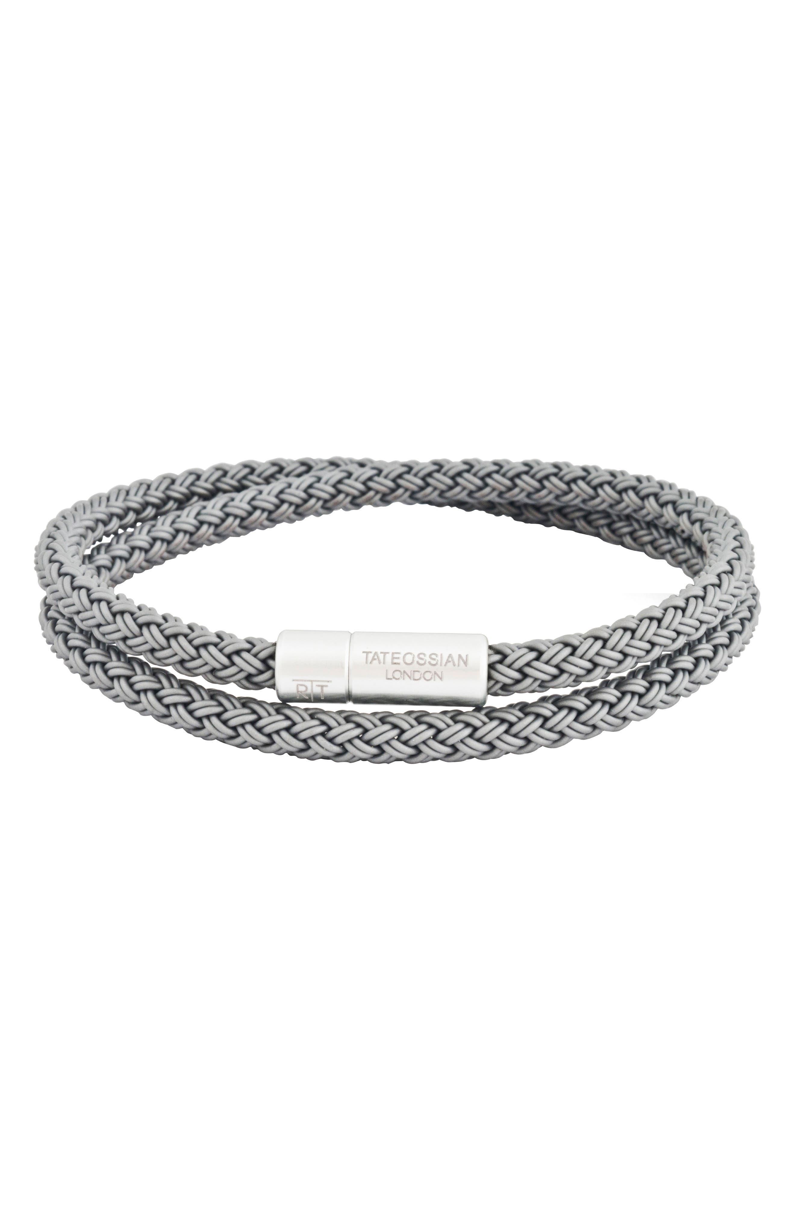 TATEOSSIAN Men'S Cable Double-Wrap Bracelet, Gray in Grey