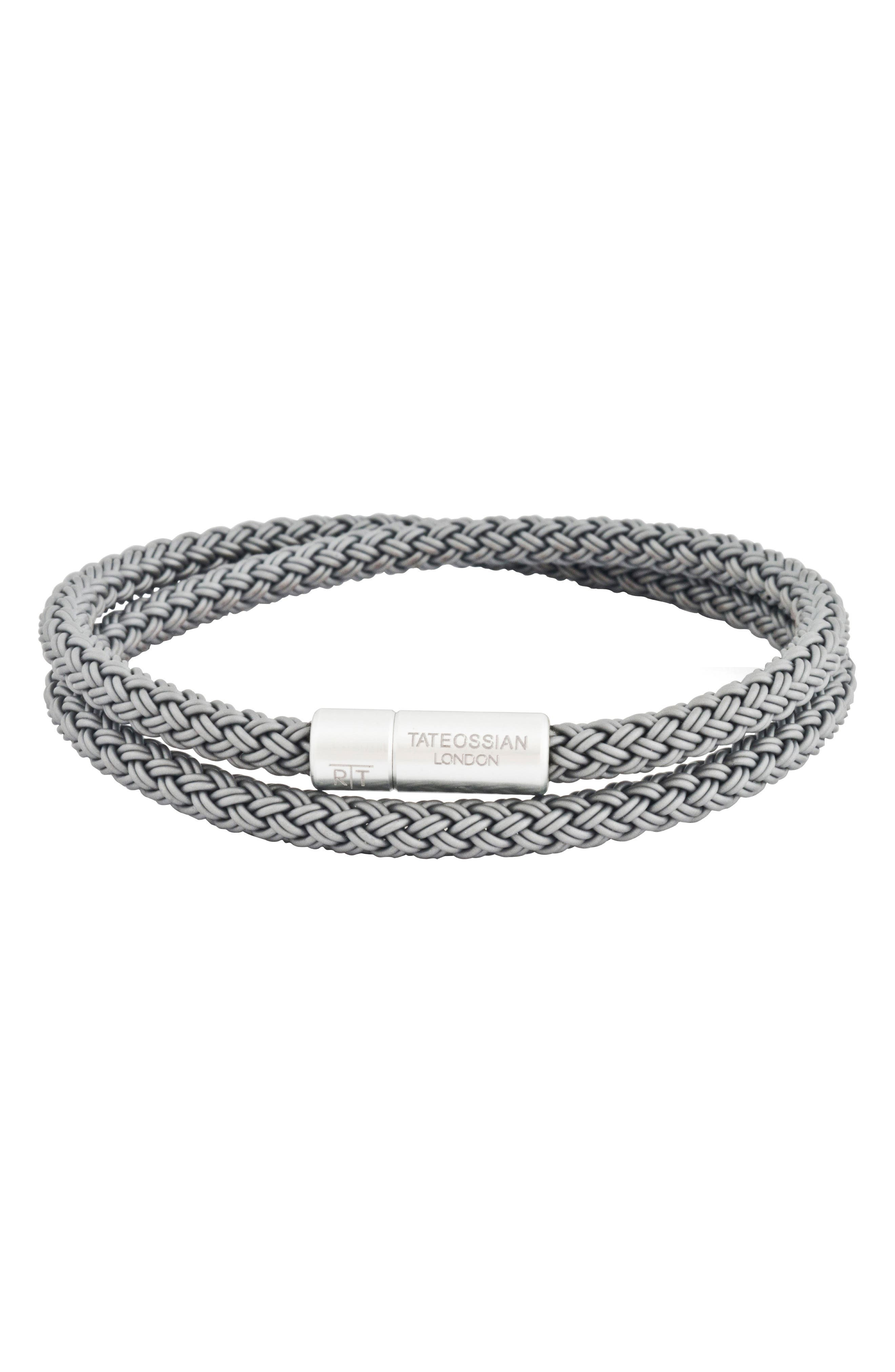 Rubber Cable Wrap Bracelet,                         Main,                         color, Grey