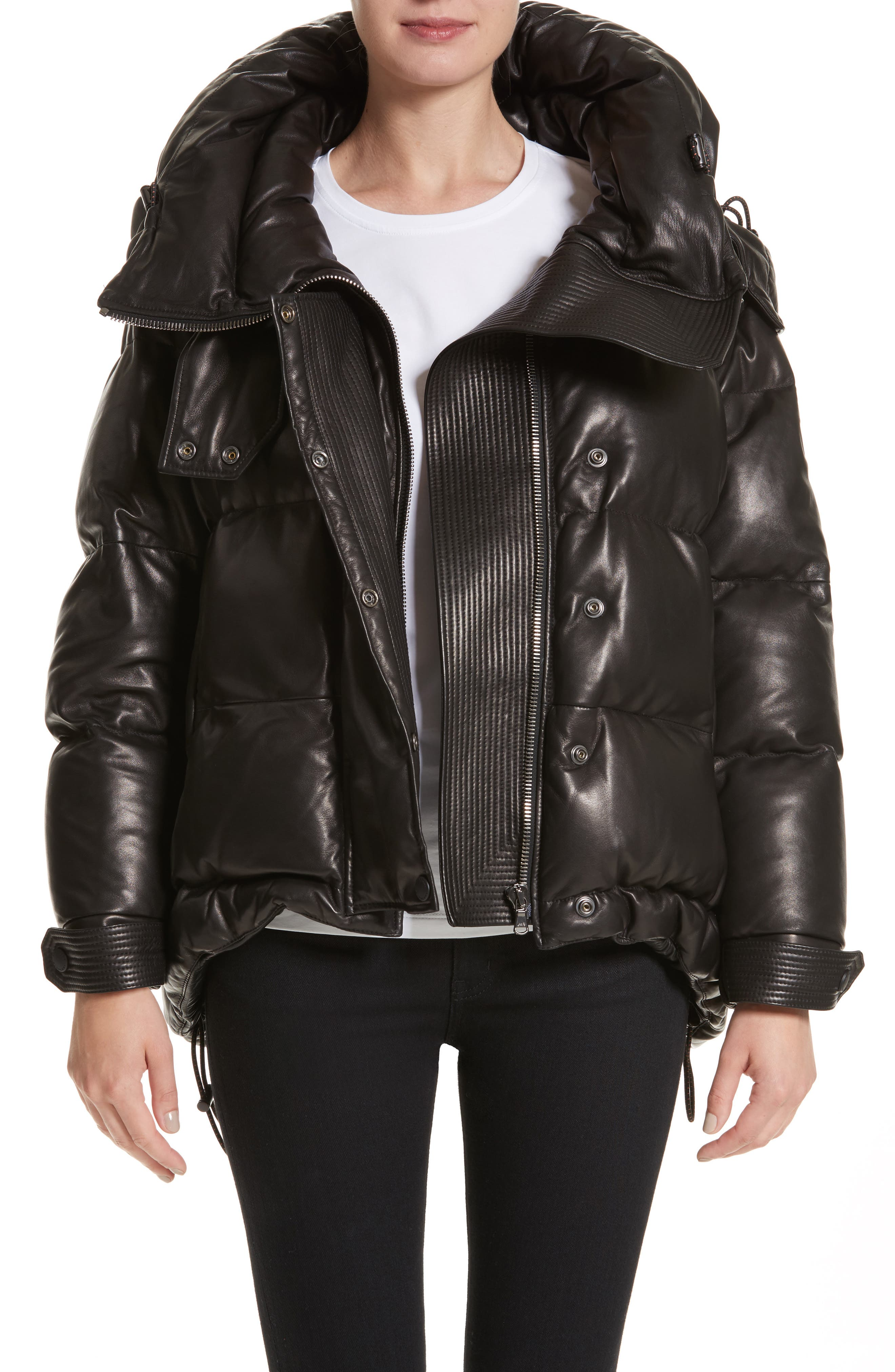 Rocklands Quilted Down Leather Coat,                         Main,                         color, Black