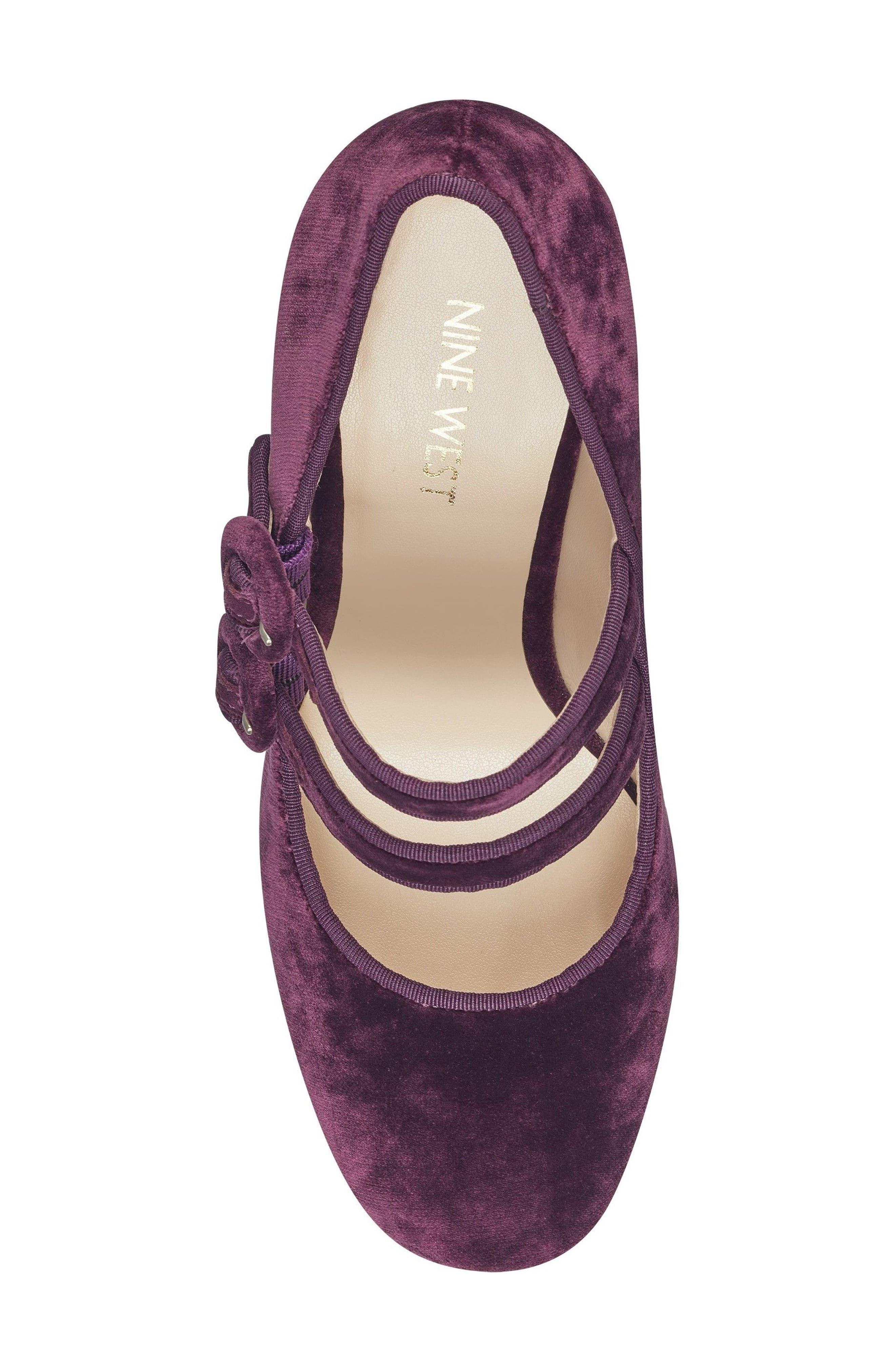Dabney Double Strap Mary Jane Pump,                             Alternate thumbnail 5, color,                             Dark Purple Fabric
