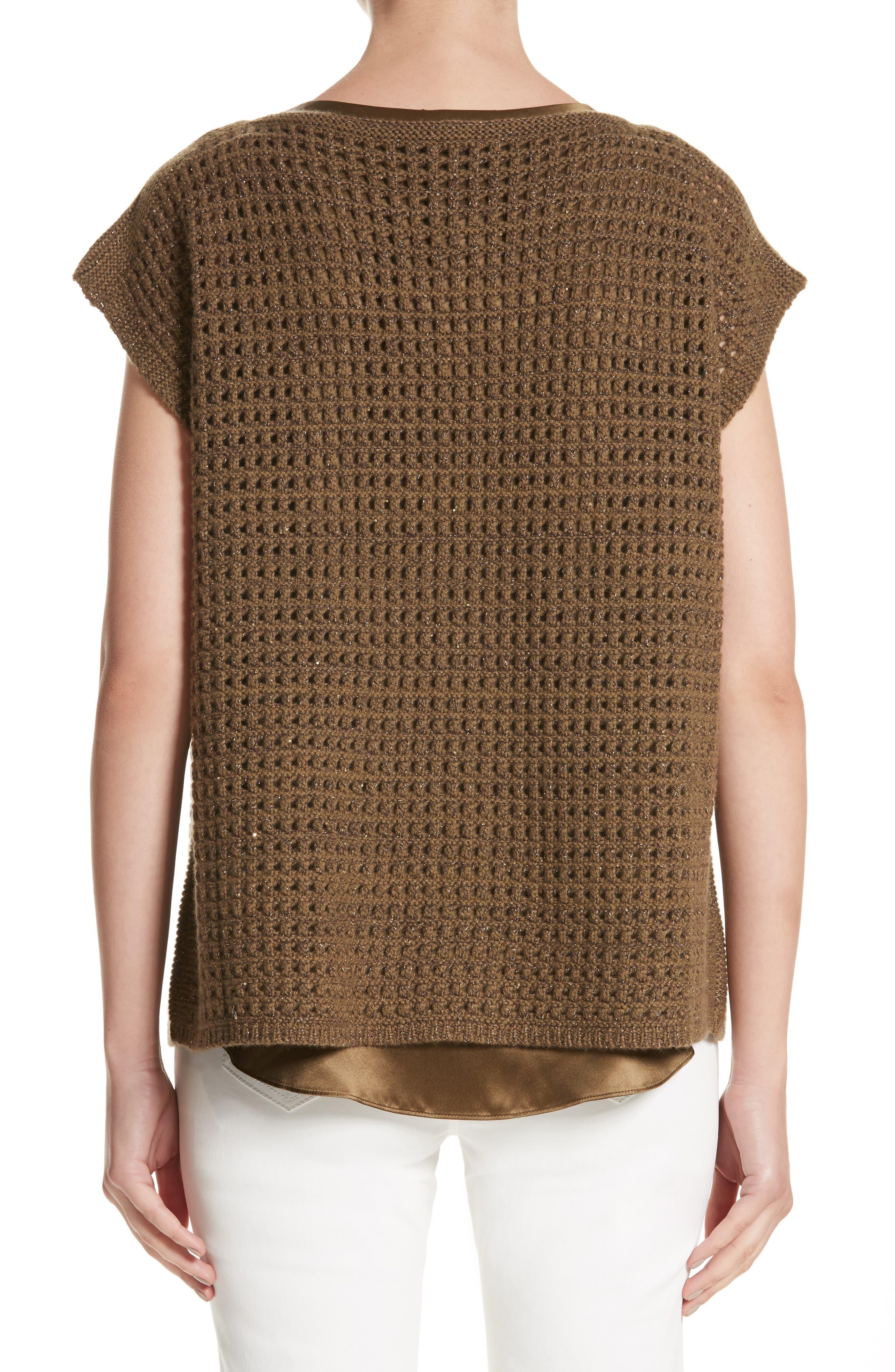 Alternate Image 2  - Lafayette 148 New York Cashmere Open Stitch Sequin Sweater