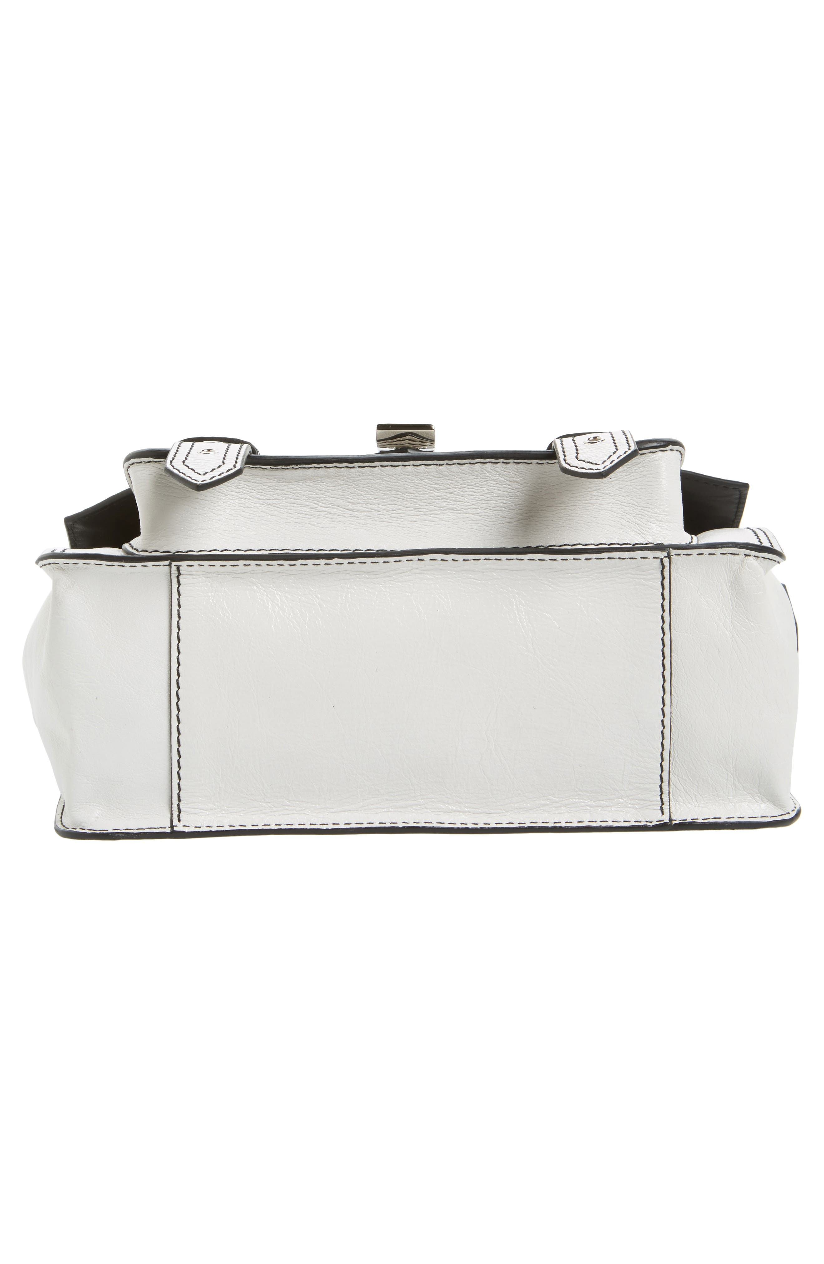 Tiny PS1 Calfskin Leather Satchel with Novelty Shoulder/Crossbody Strap,                             Alternate thumbnail 4, color,                             Optic White