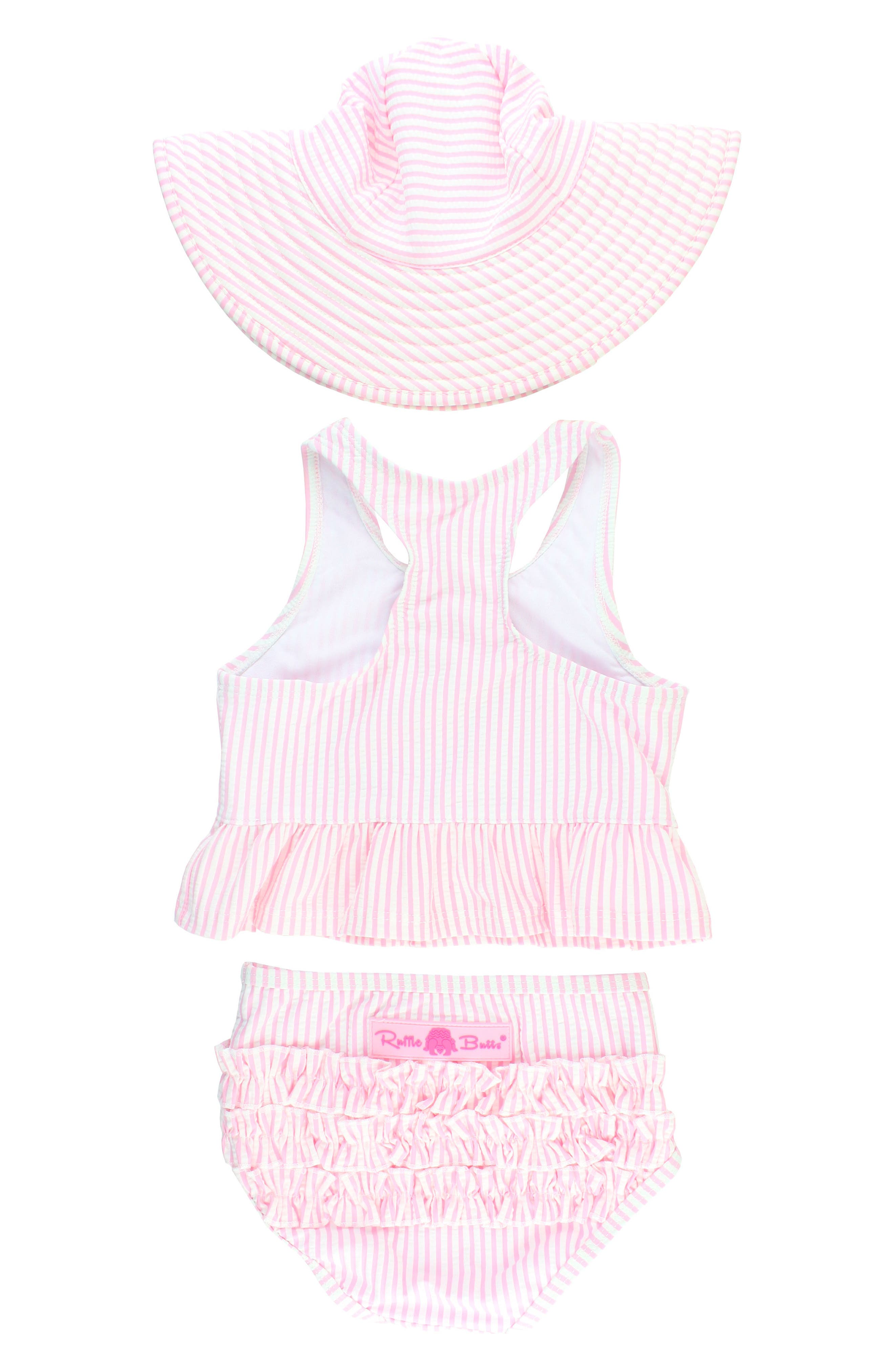 Two-Piece Swimsuit & Hat Set,                             Alternate thumbnail 2, color,                             Pink