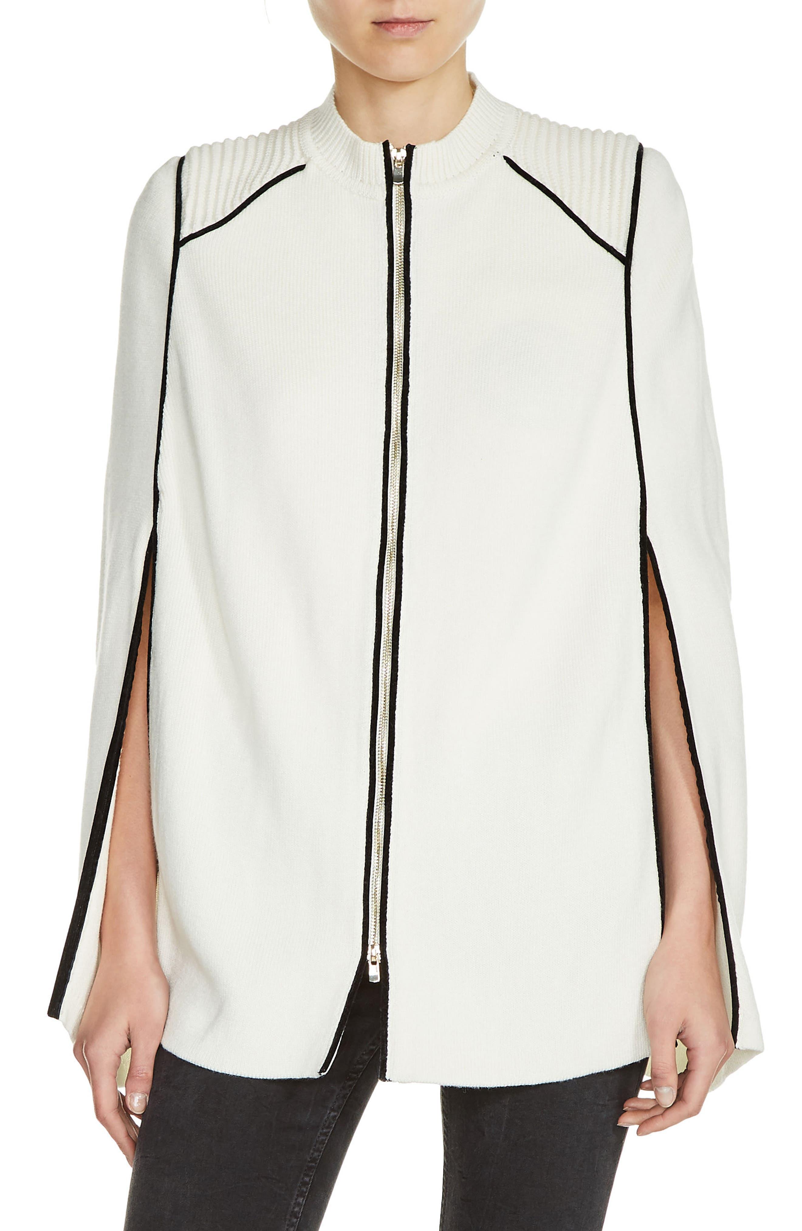 Zip Front Cape Cardigan,                         Main,                         color, White