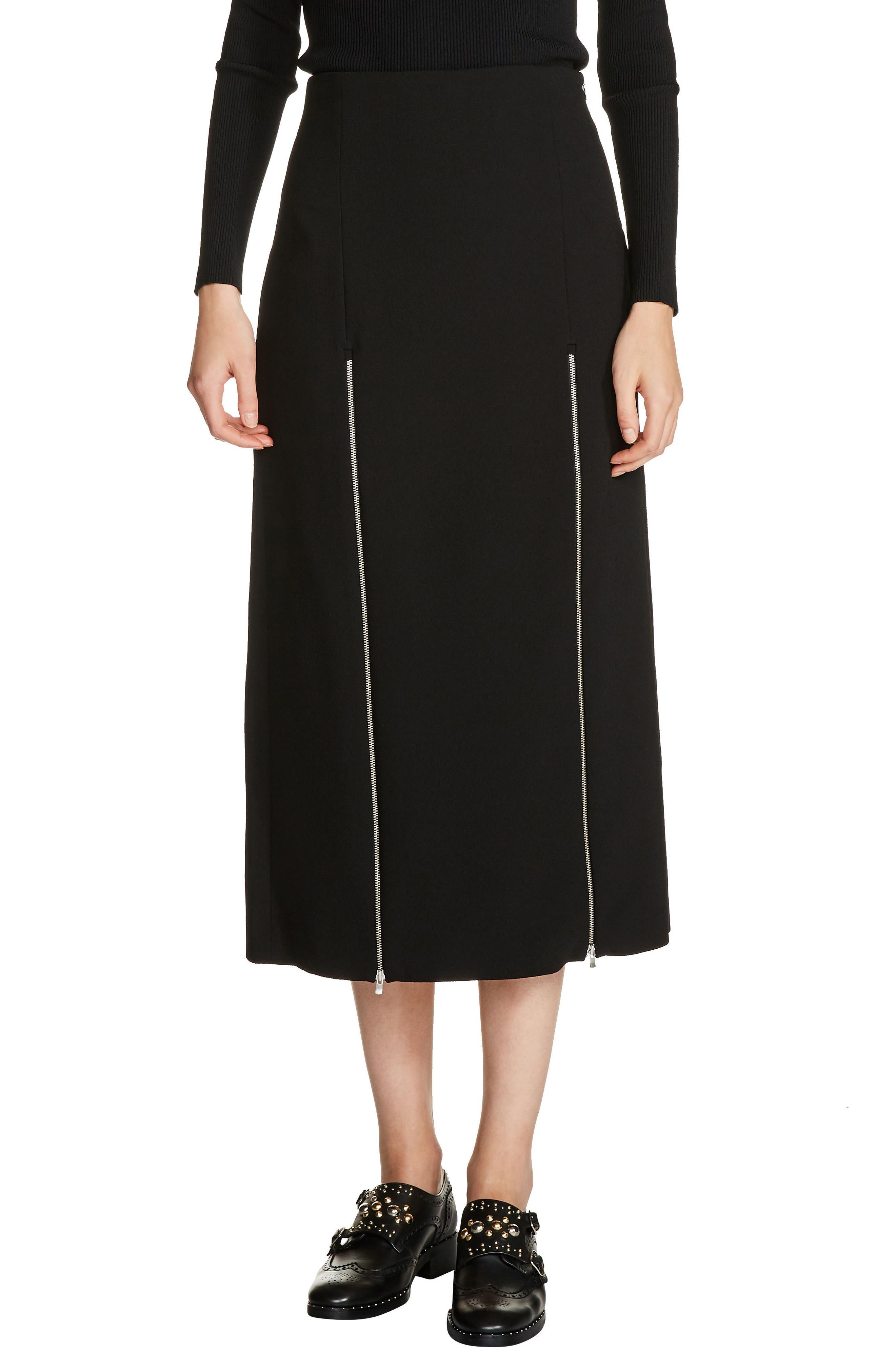 Zip Detail Midi Skirt,                             Main thumbnail 1, color,                             Black