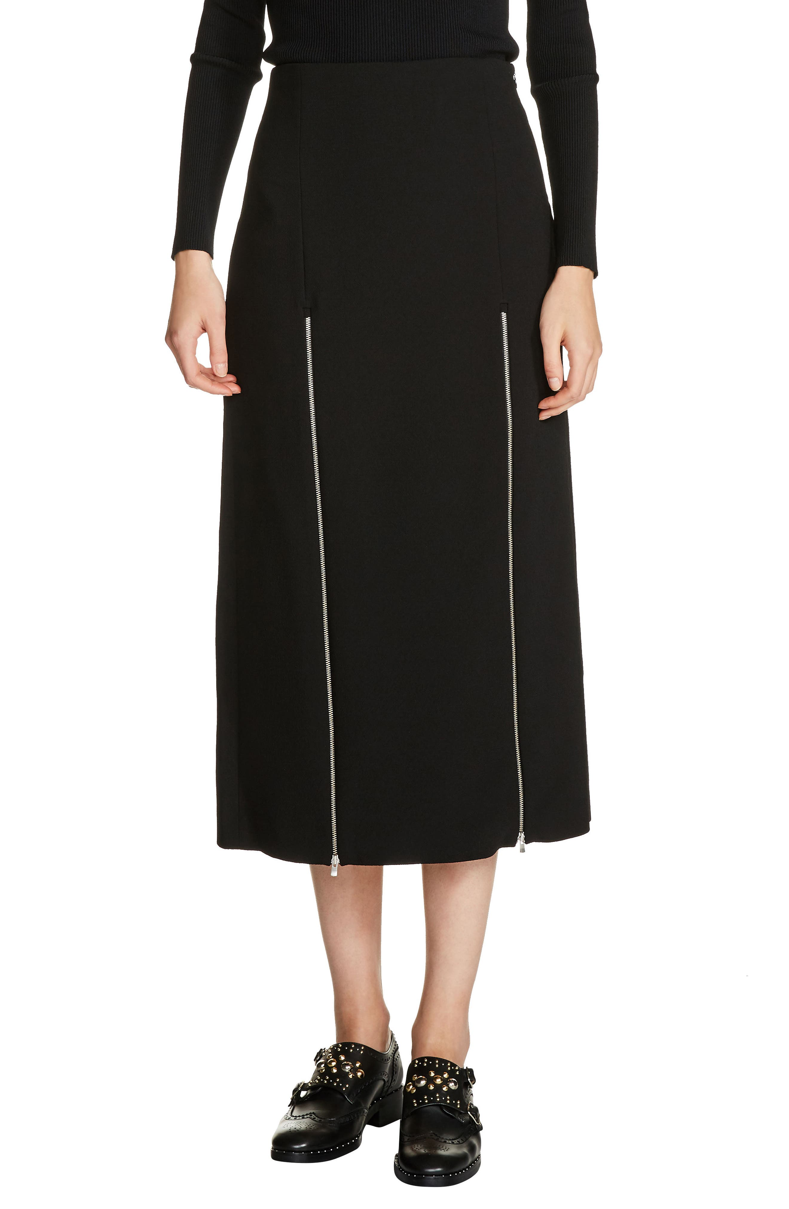 Zip Detail Midi Skirt,                         Main,                         color, Black
