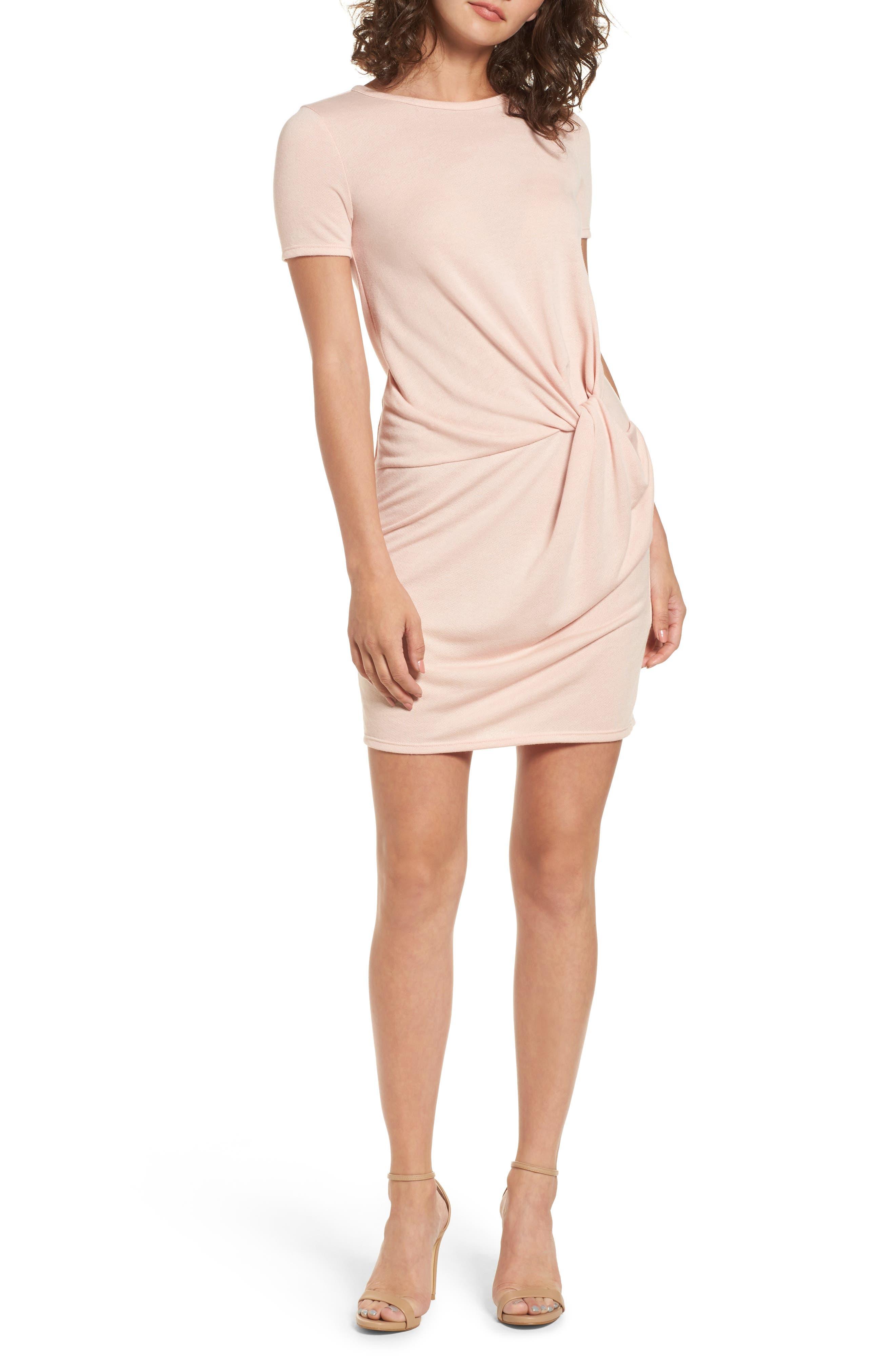 Knot Front Sheath Dress,                         Main,                         color, Pink Smoke