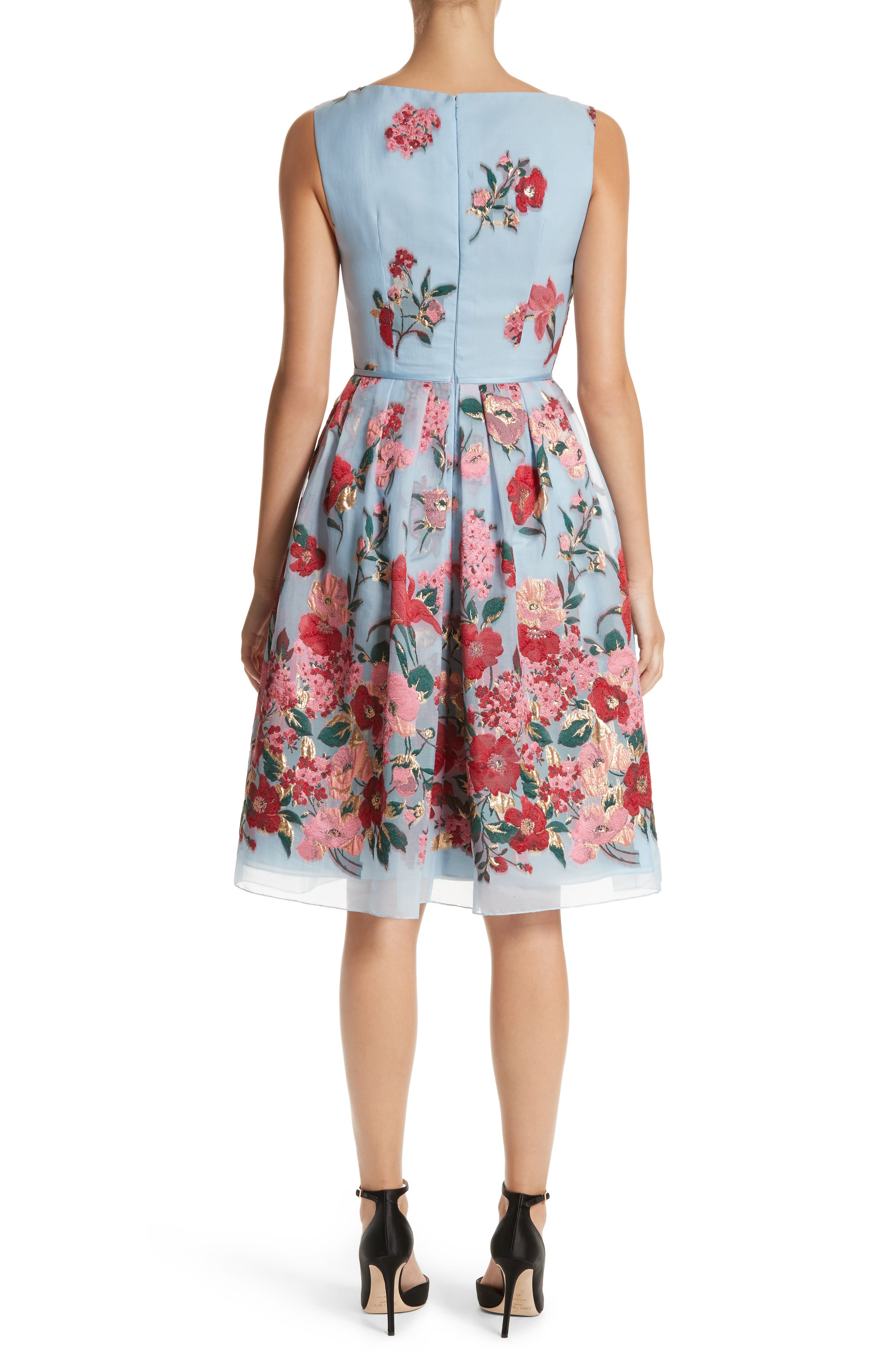 Alternate Image 2  - Carolina Herrera Embroidered Floral Fit & Flare Dress