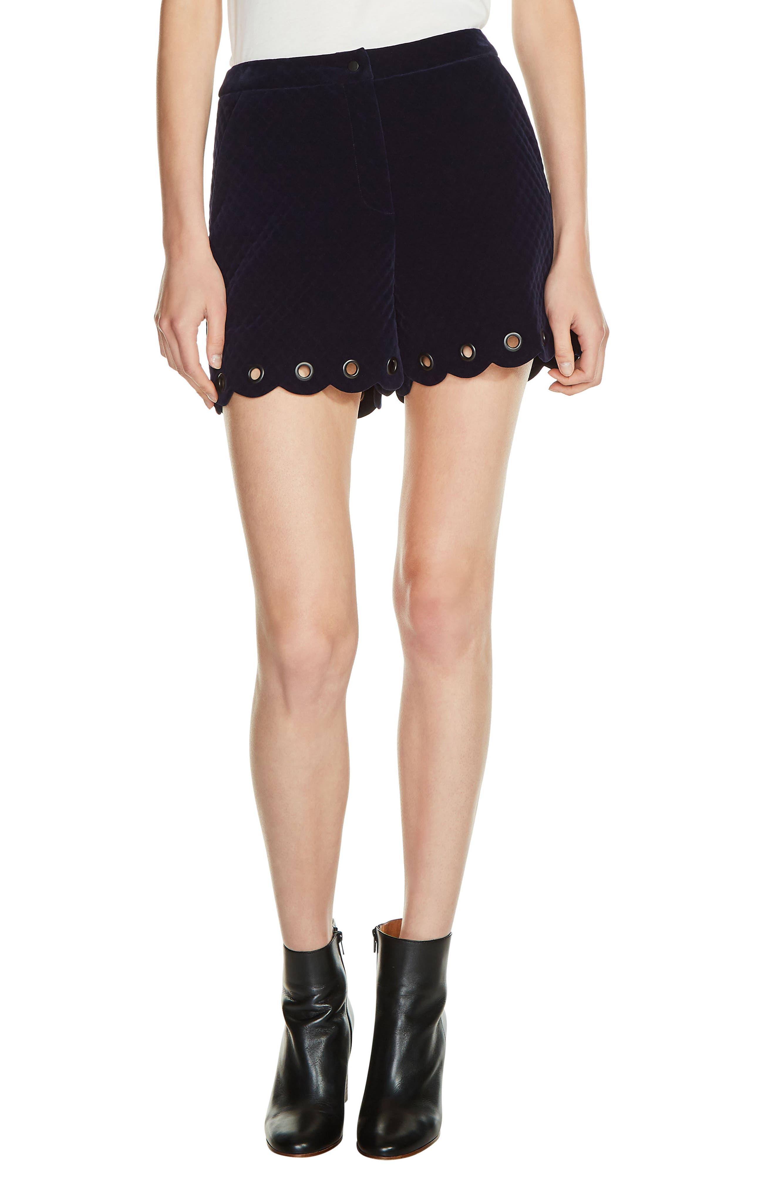 Grommet Detail Velvet Shorts,                         Main,                         color, Navy