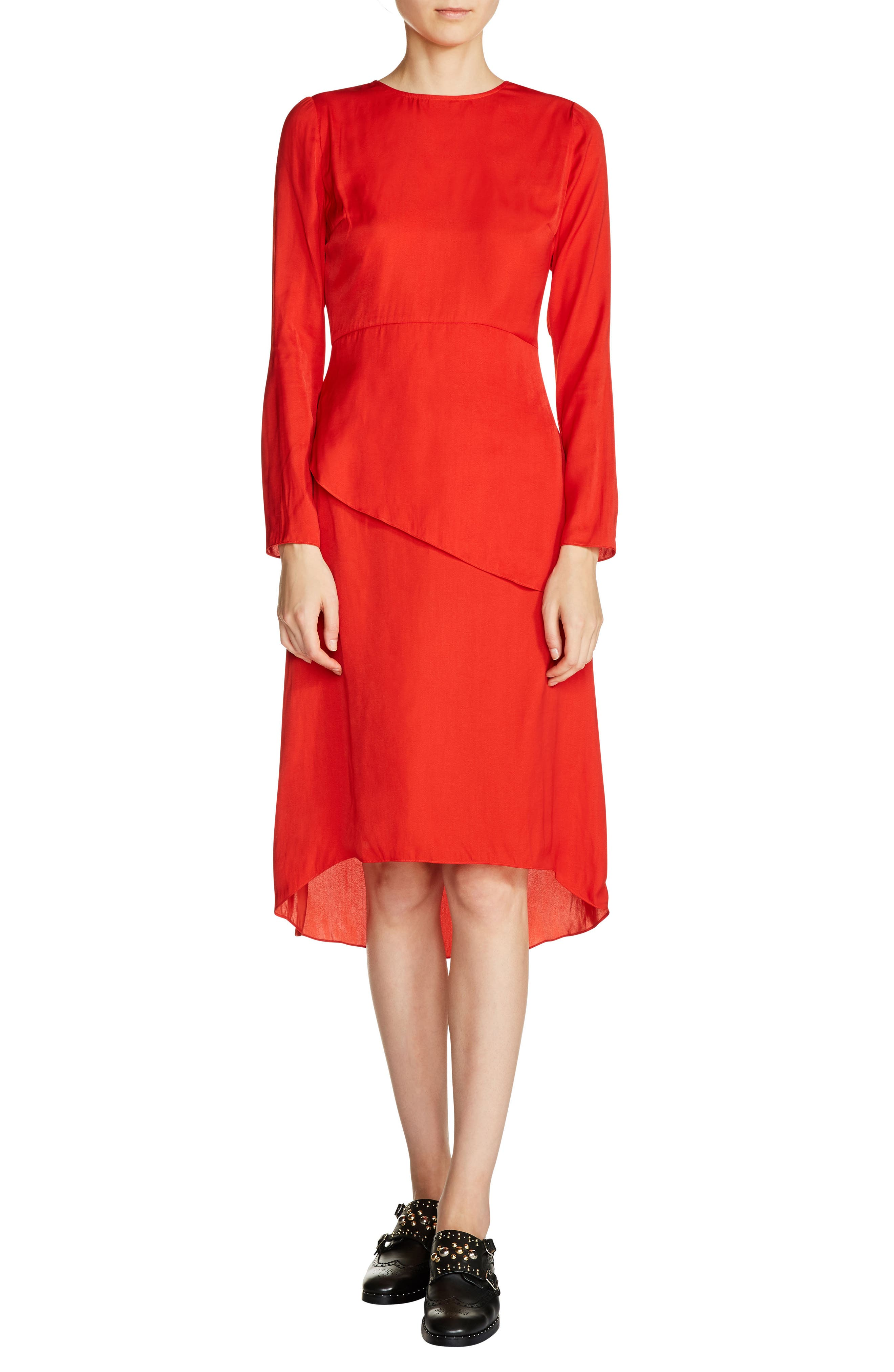 Tiered A-Line Dress,                             Main thumbnail 1, color,                             Red