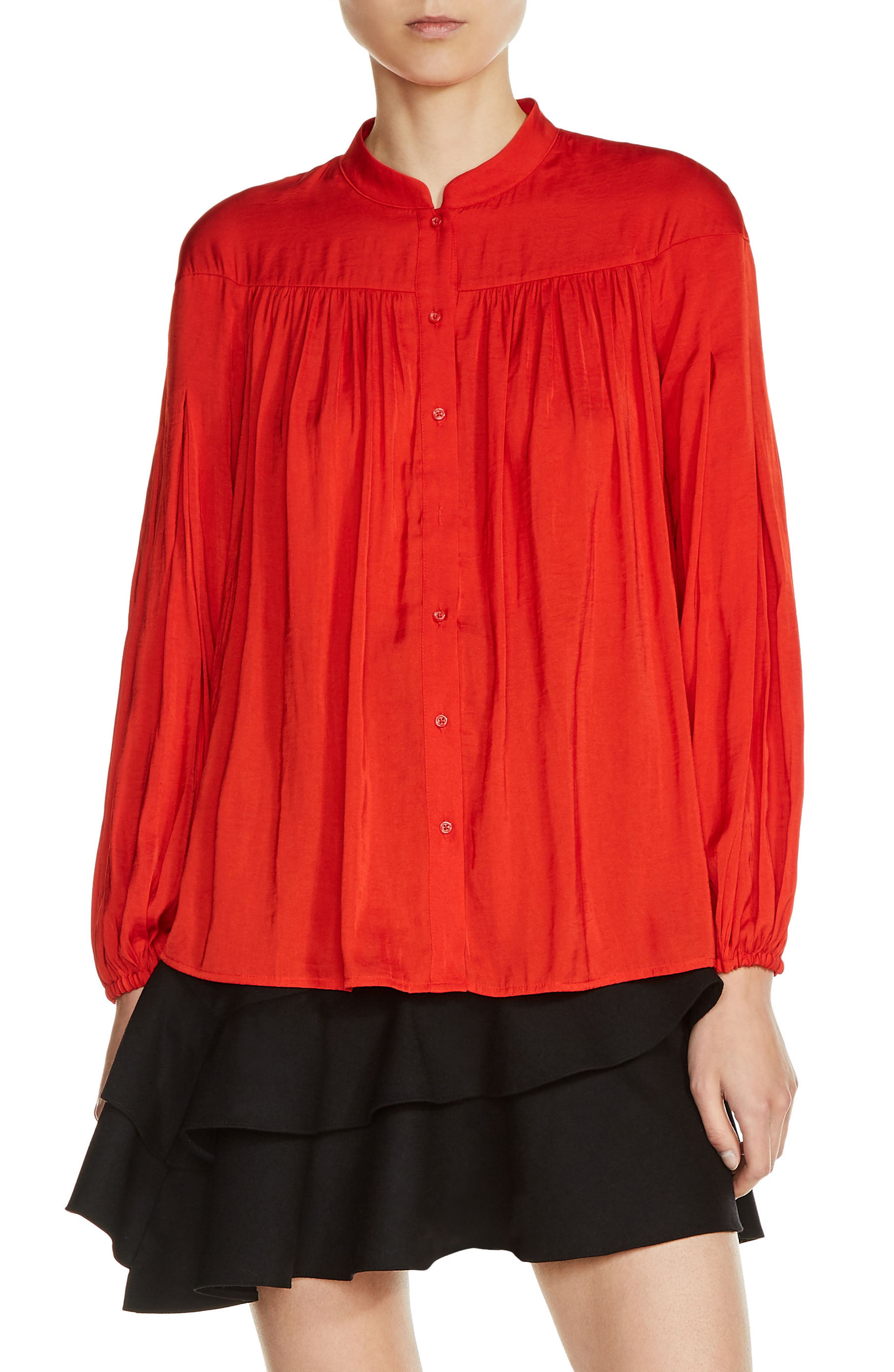 Shirred Blouse,                         Main,                         color, Red