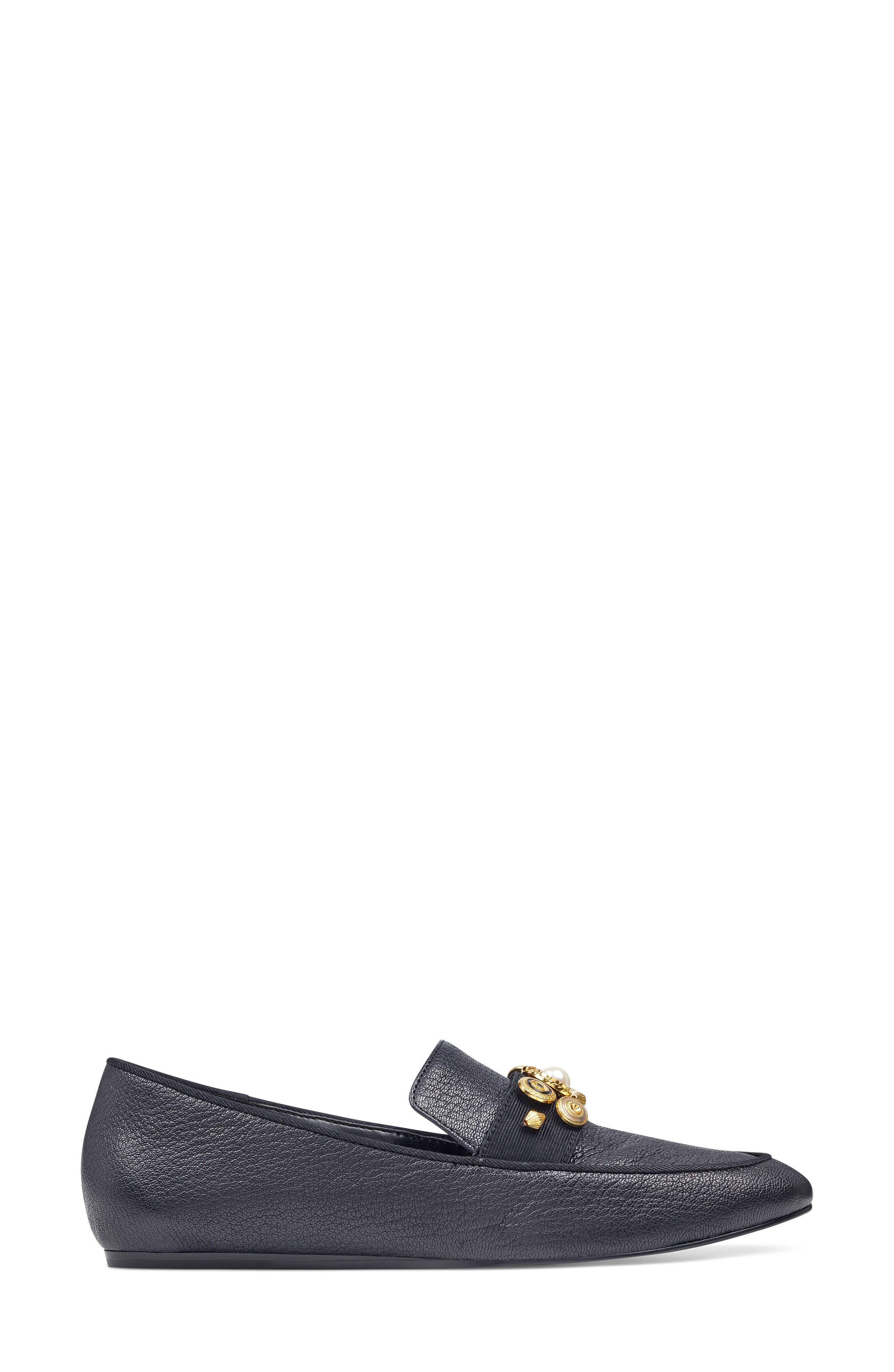 Baus Loafer Flat,                             Alternate thumbnail 3, color,                             Black/ Black Leather