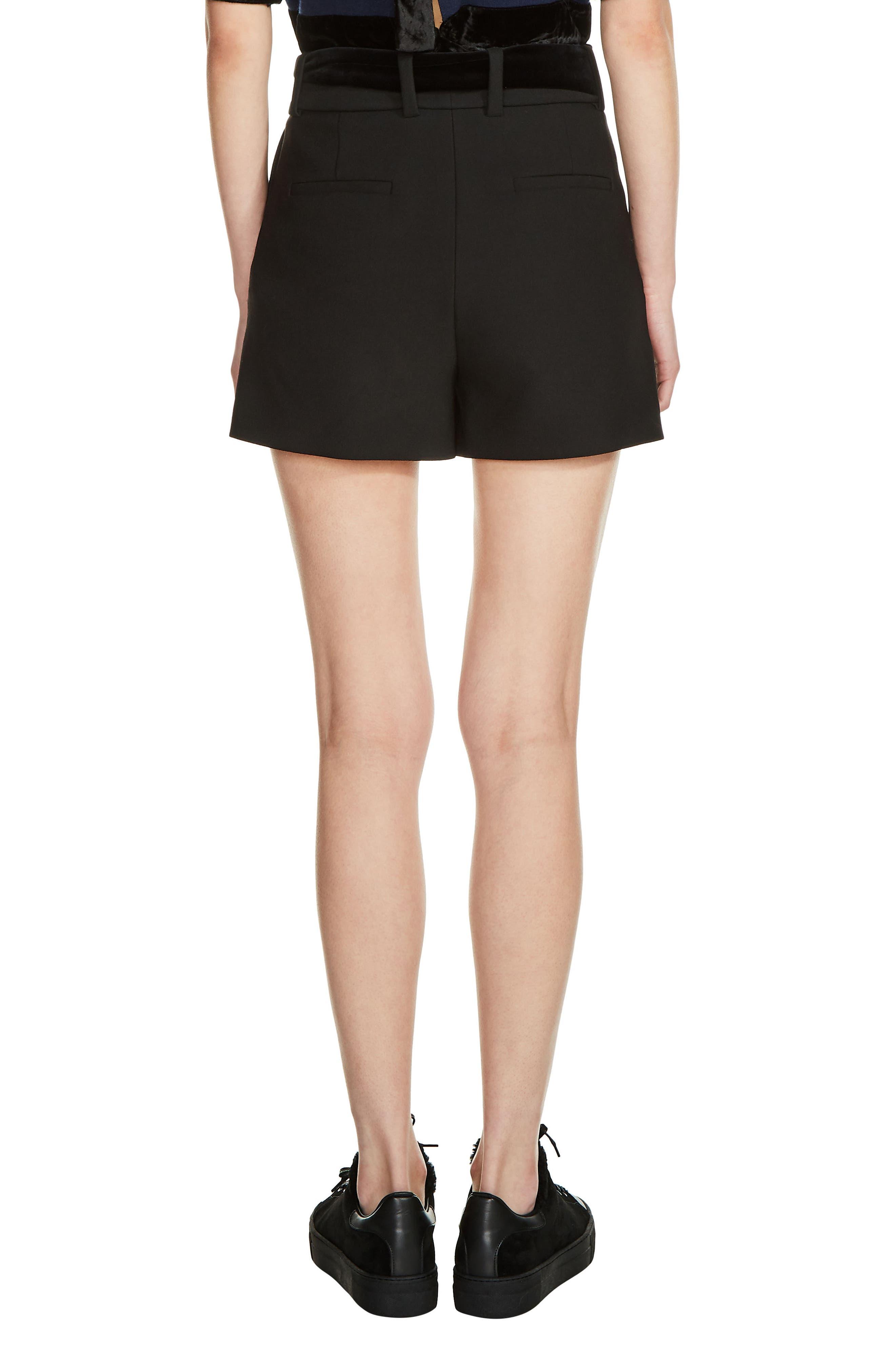 Velvet Tie Shorts,                             Alternate thumbnail 2, color,                             Black
